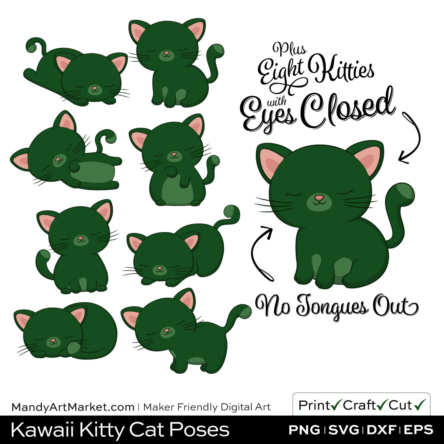 Forest Green Kawaii Kitty Cat Poses Clipart PNGs Included in Download