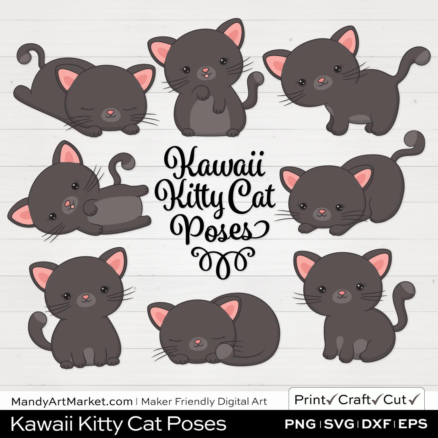 Gunmetal Gray Kawaii Kitty Cat Poses Clipart on White Background