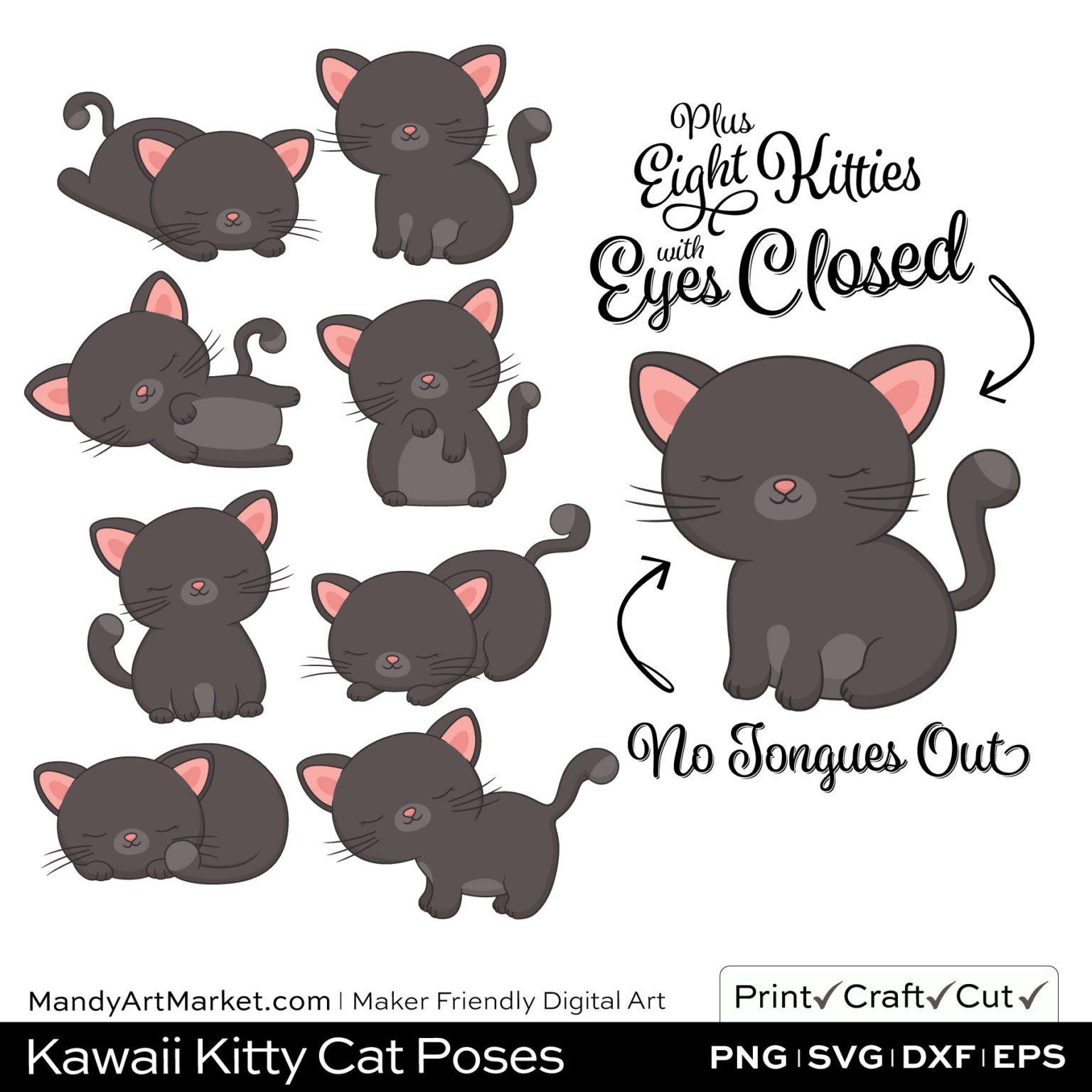 Gunmetal Gray Kawaii Kitty Cat Poses Clipart PNGs Included in Download