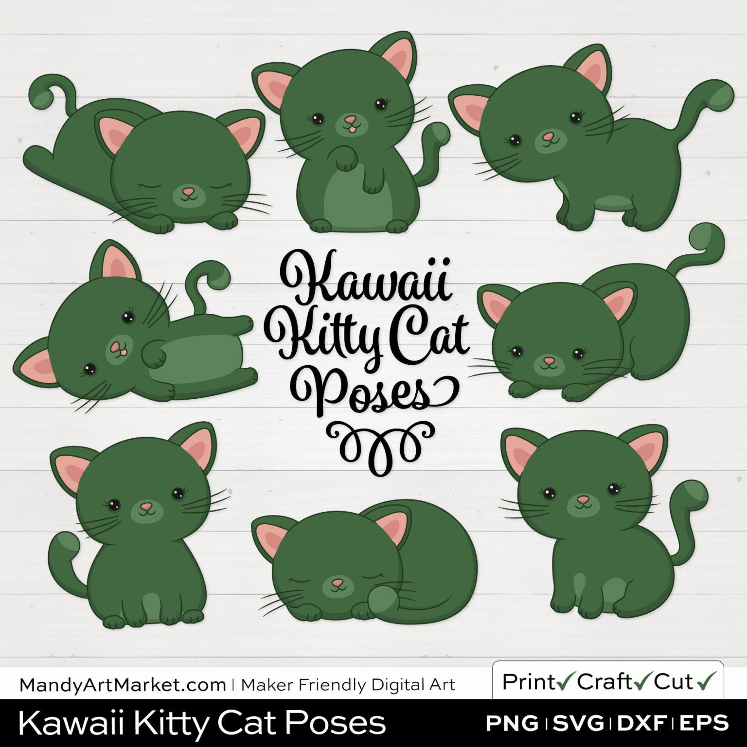 Hemlock Green Kawaii Kitty Cat Poses Clipart on White Background