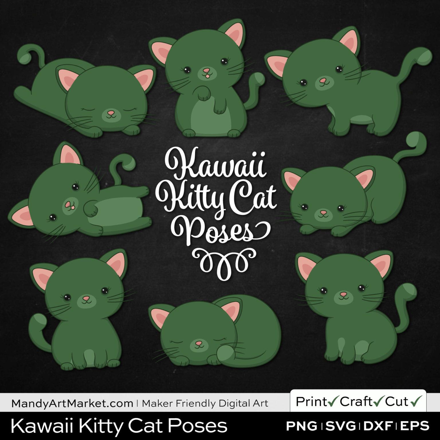 Hemlock Green Kawaii Kitty Cat Poses Clipart on Black Background
