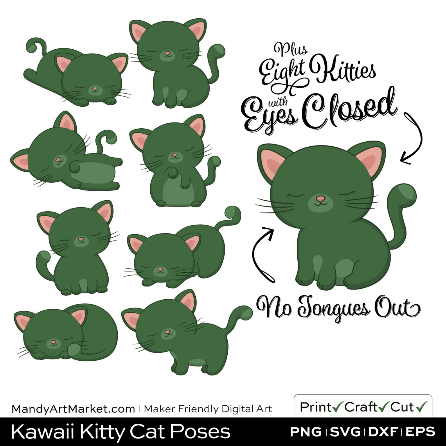 Hemlock Green Kawaii Kitty Cat Poses Clipart PNGs Included in Download