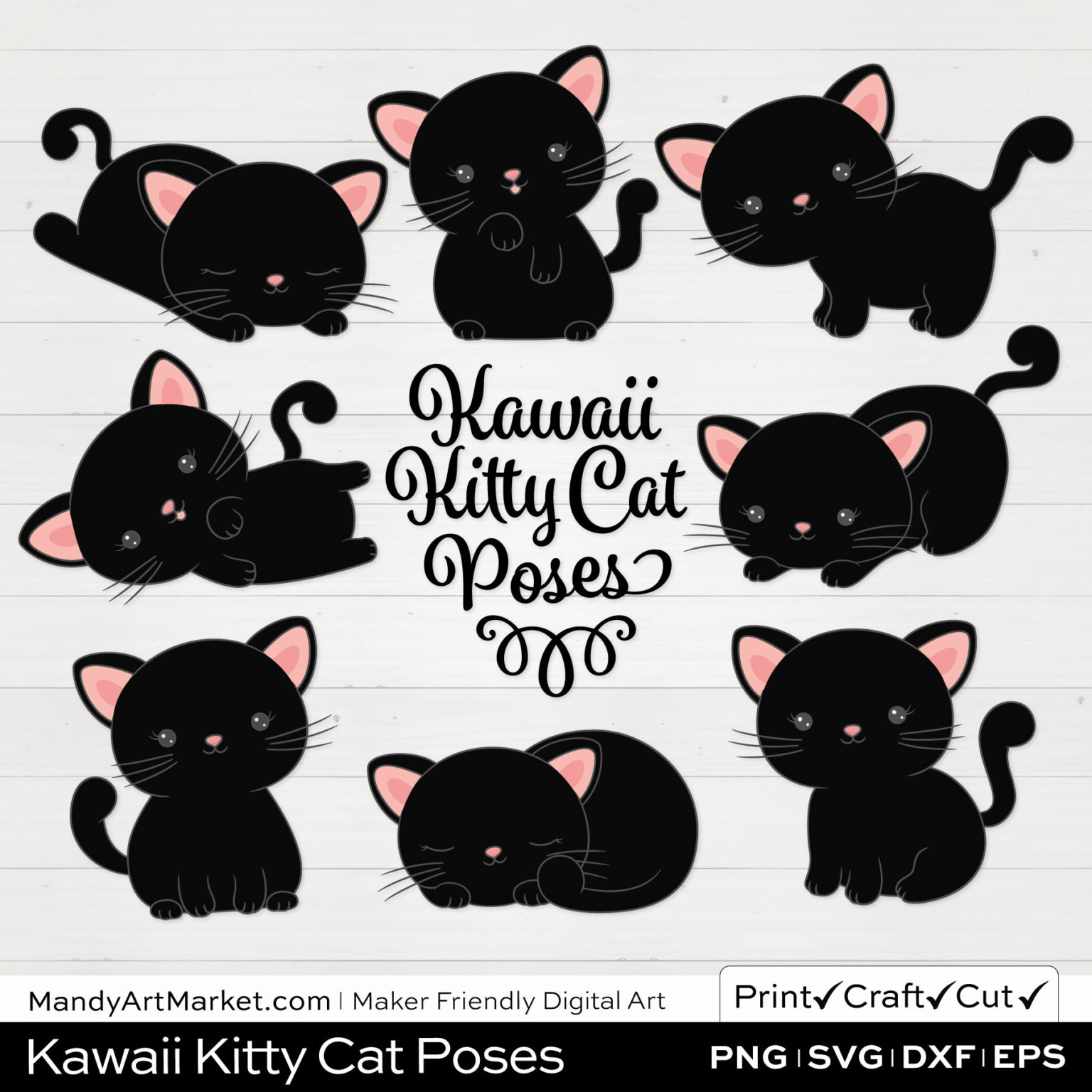 Ink Black Kawaii Kitty Cat Poses Clipart on White Background