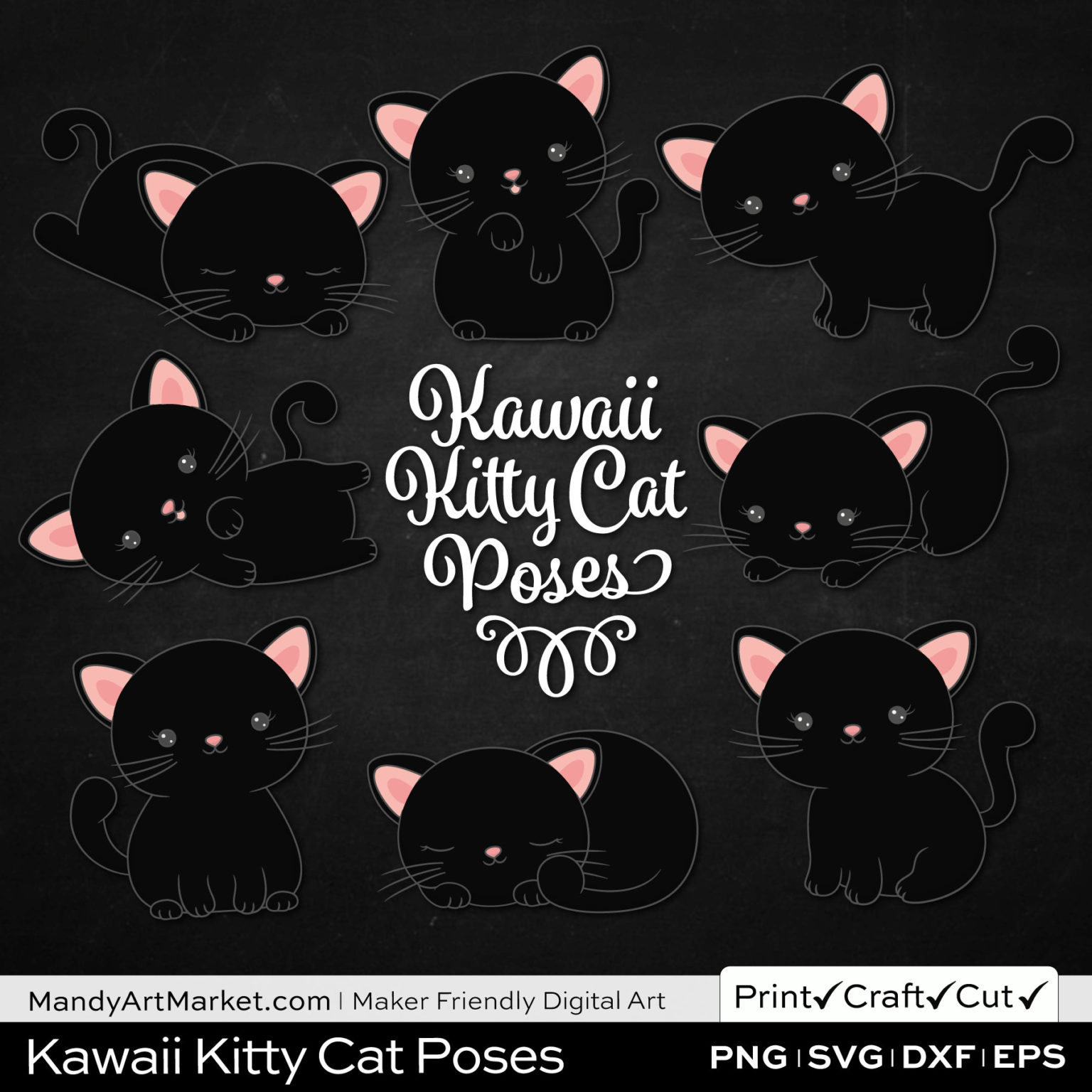 Ink Black Kawaii Kitty Cat Poses Clipart on Black Background