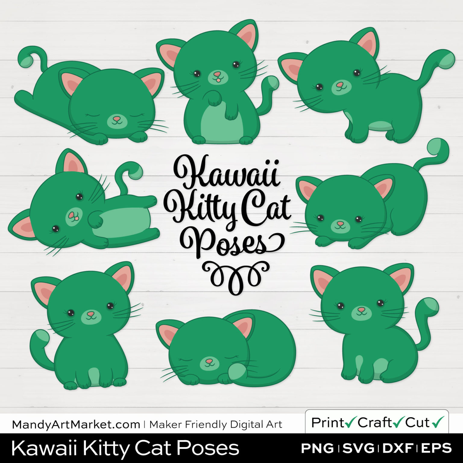 Jade Green Kawaii Kitty Cat Poses Clipart on White Background