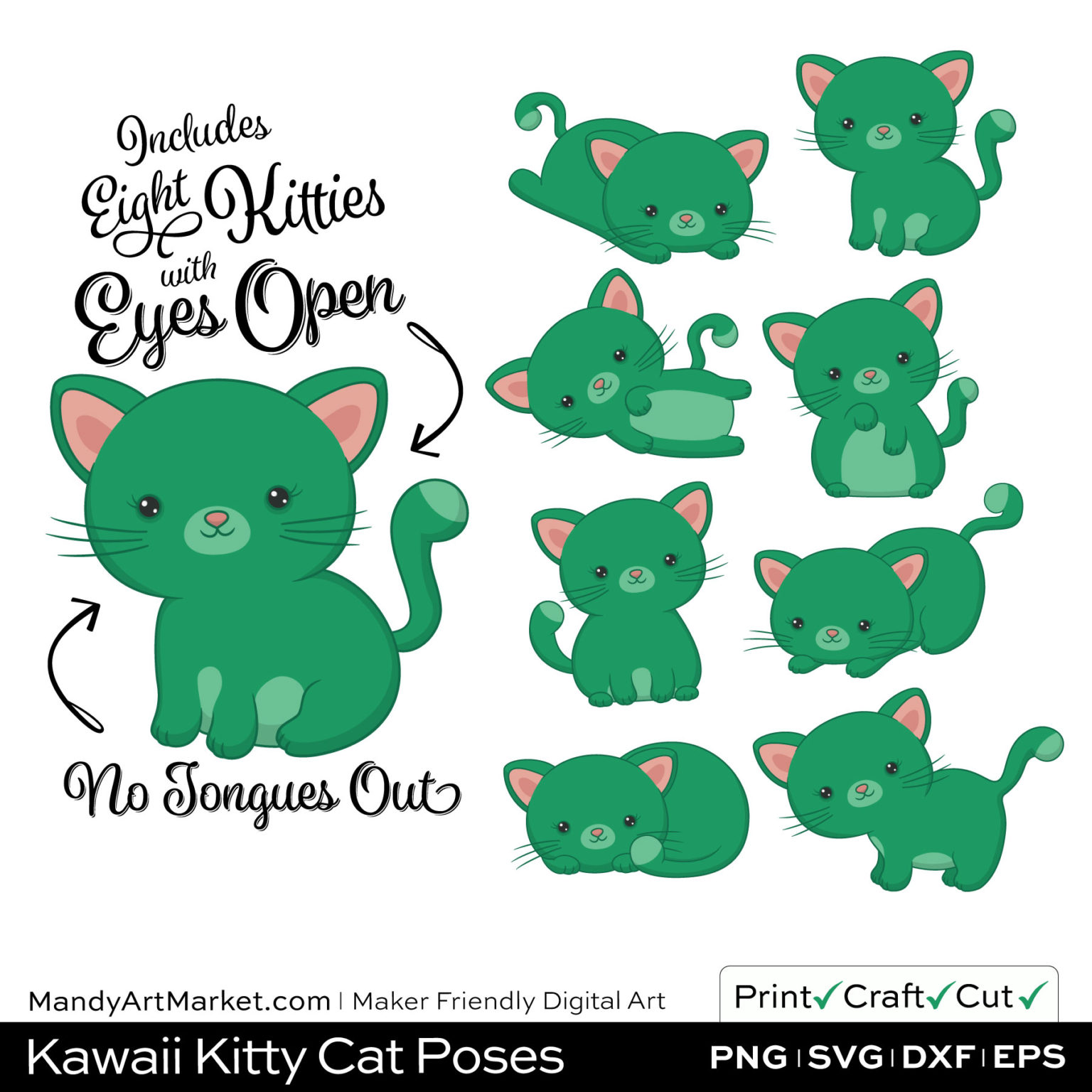 Jade Green Kawaii Kitty Cat Poses Clipart on Wood Background