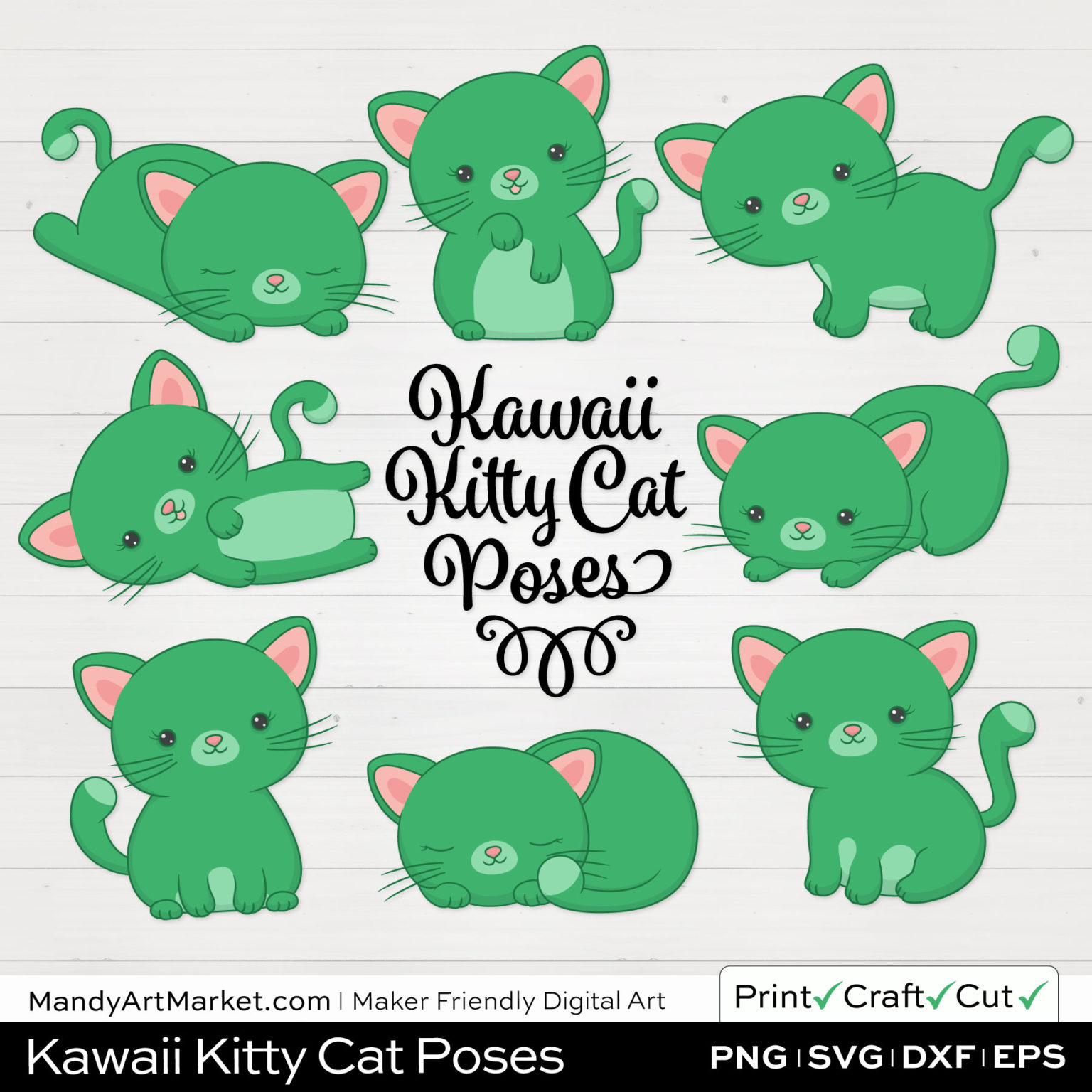 Kelly Green Kawaii Kitty Cat Poses Clipart on White Background