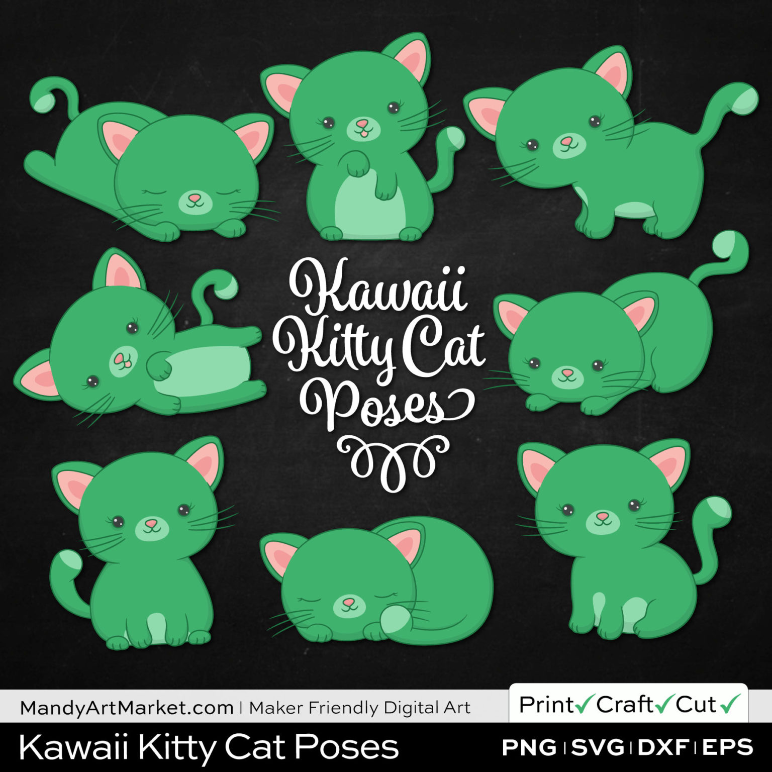 Kelly Green Kawaii Kitty Cat Poses Clipart on Black Background