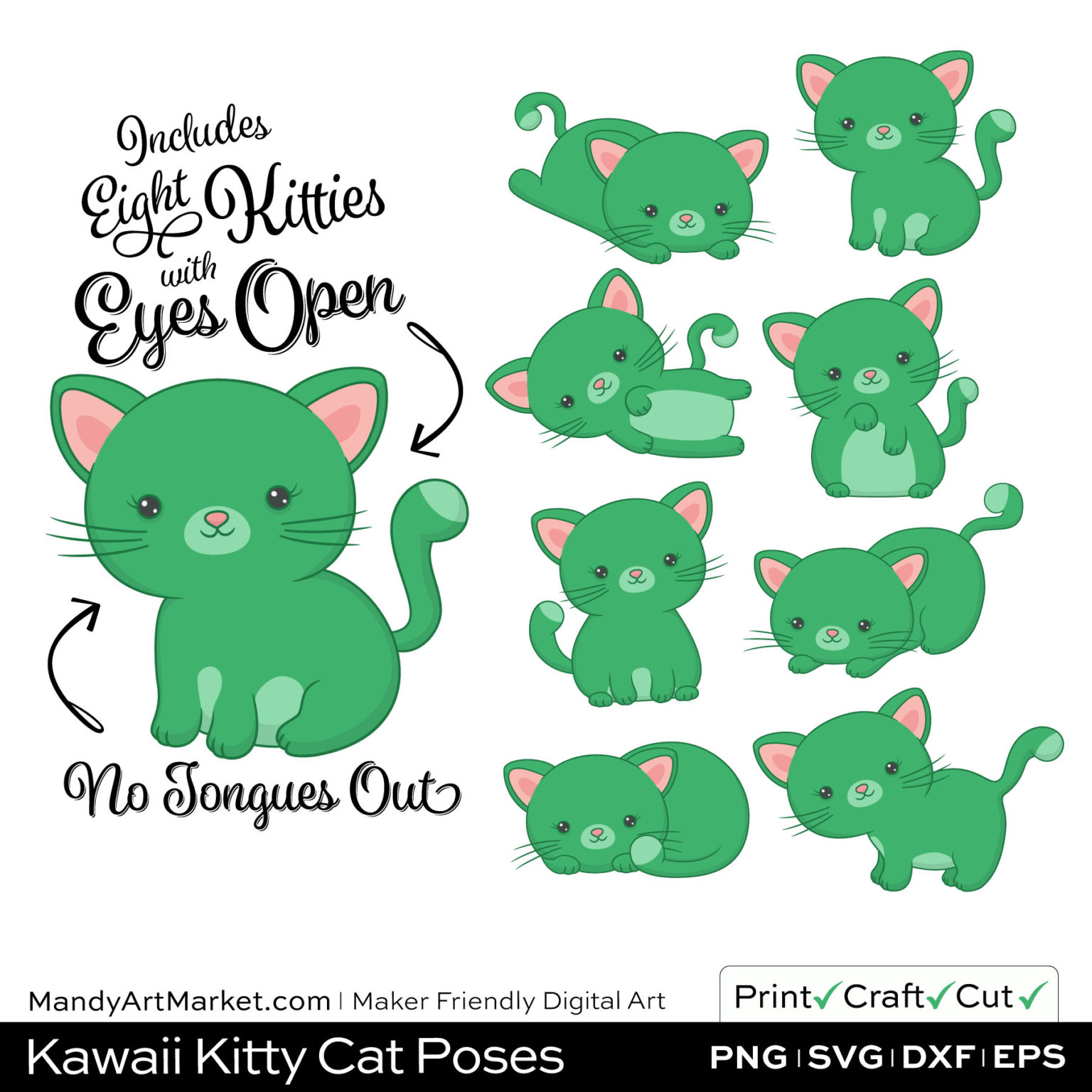 Kelly Green Kawaii Kitty Cat Poses Clipart on Wood Background