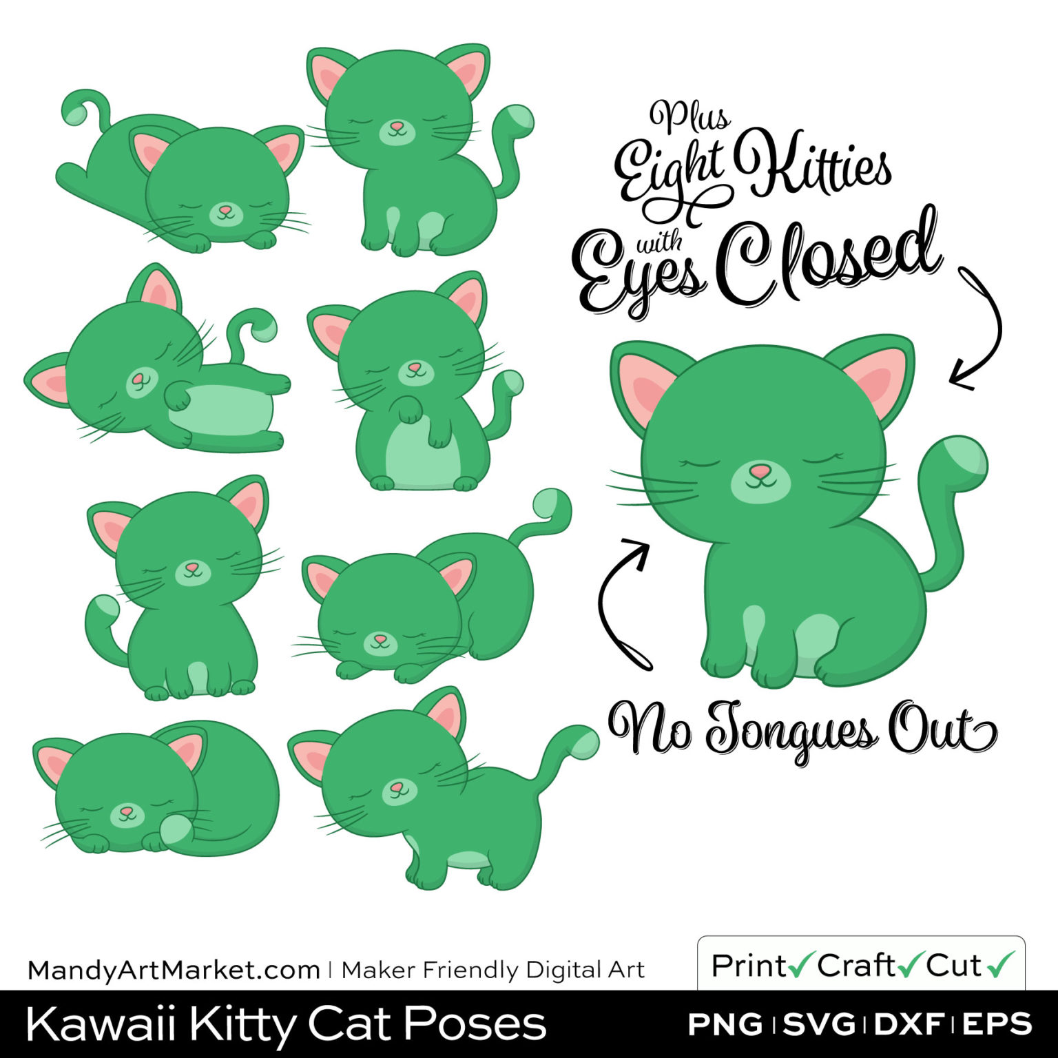 Kelly Green Kawaii Kitty Cat Poses Clipart PNGs Included in Download