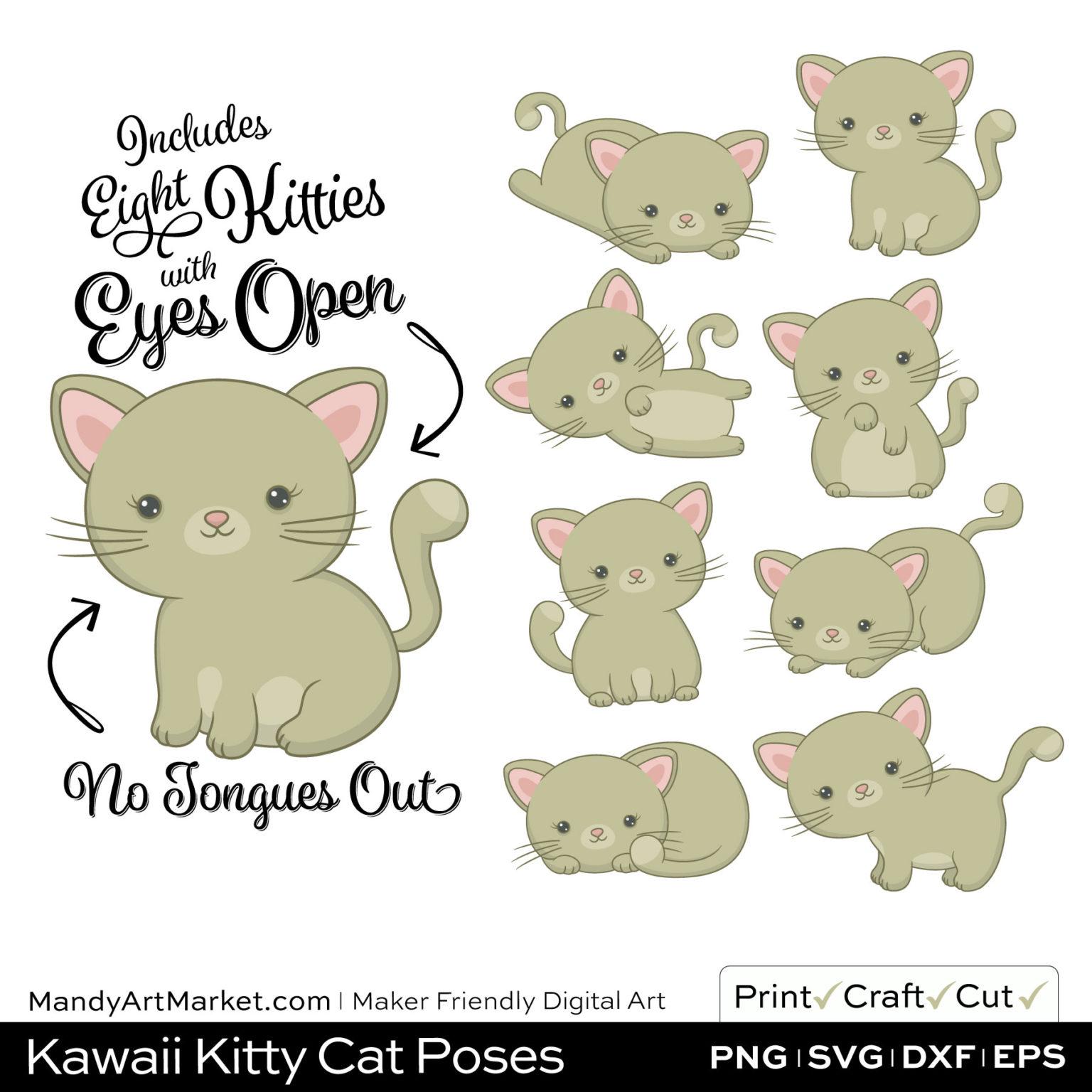 Khaki Green Kawaii Kitty Cat Poses Clipart on Wood Background
