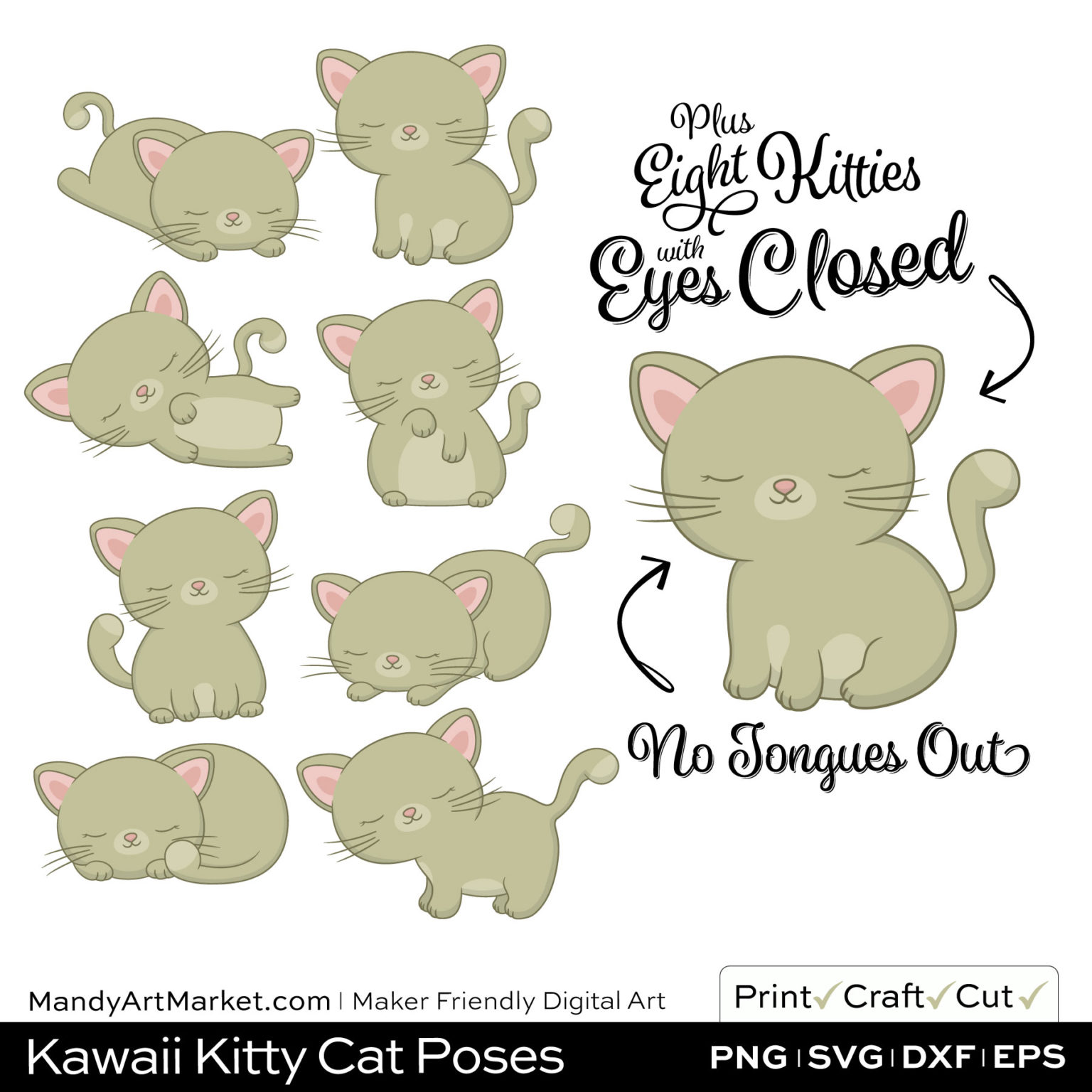Khaki Green Kawaii Kitty Cat Poses Clipart PNGs Included in Download
