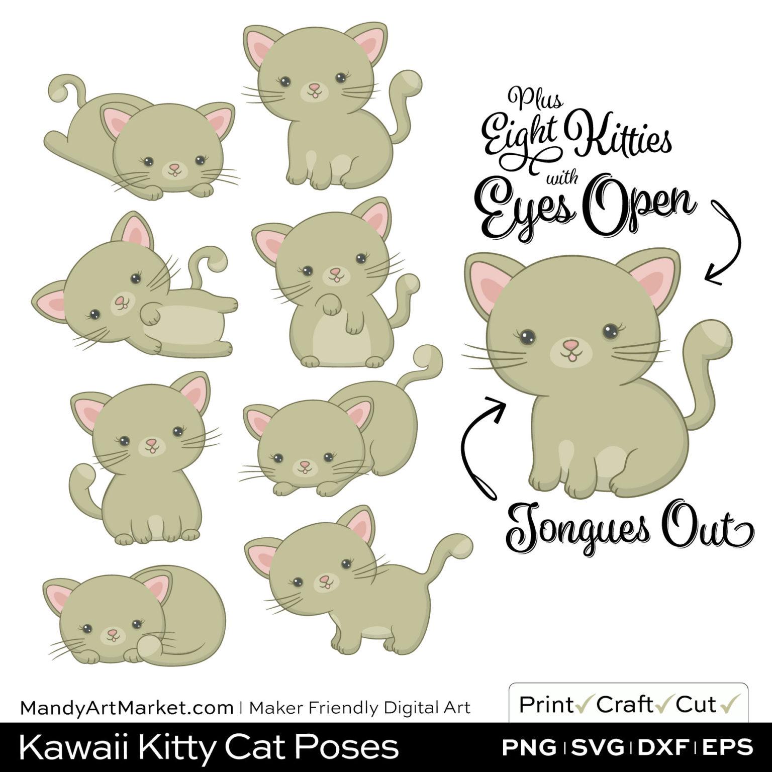Khaki Green Kawaii Kitty Cat Poses Clipart Examples