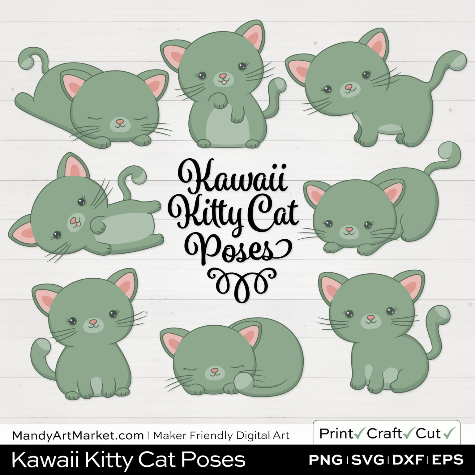 Laurel Green Kawaii Kitty Cat Poses Clipart on White Background