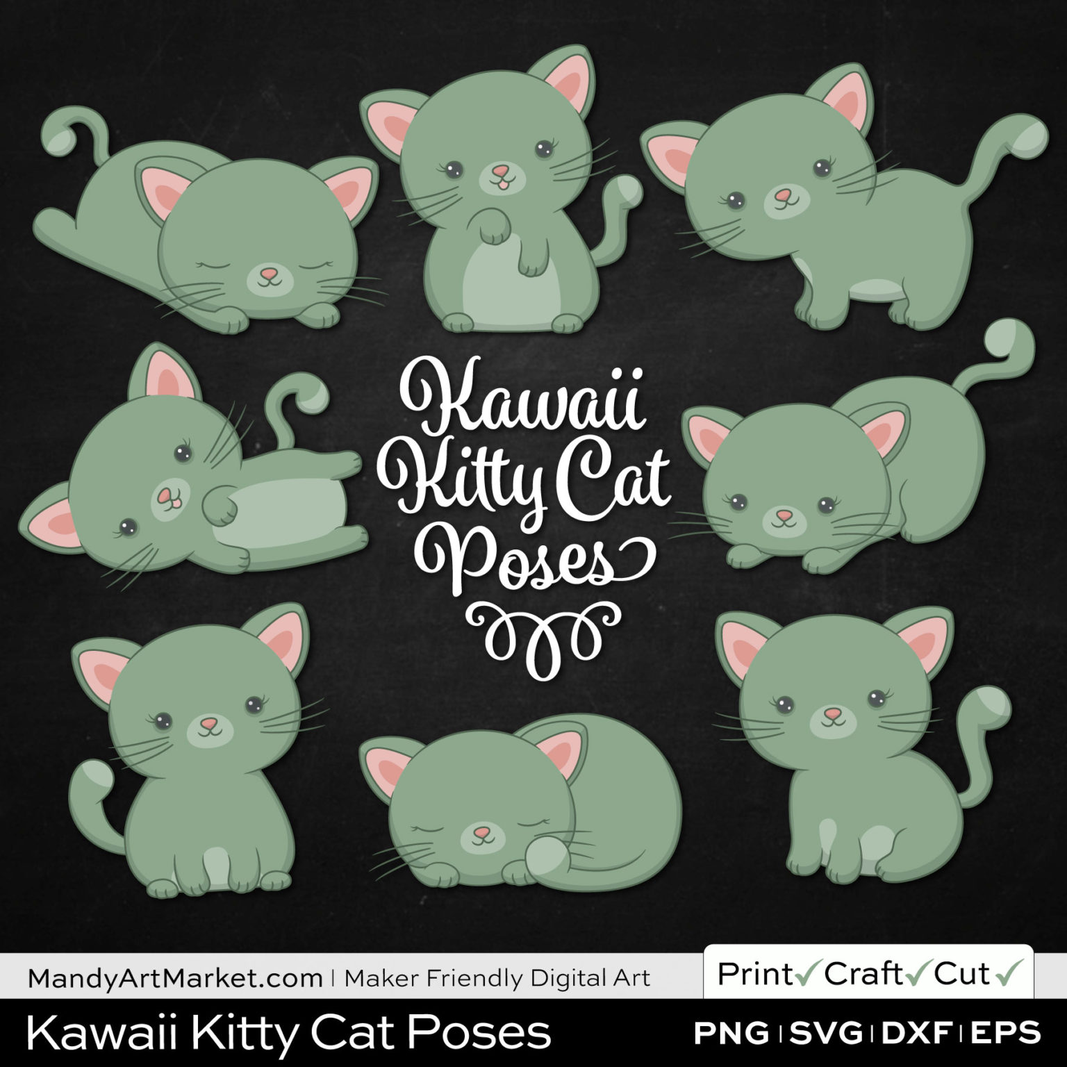 Laurel Green Kawaii Kitty Cat Poses Clipart on Black Background