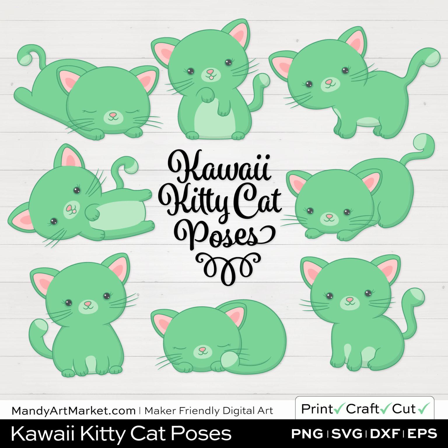 Light Fern Green Kawaii Kitty Cat Poses Clipart on White Background