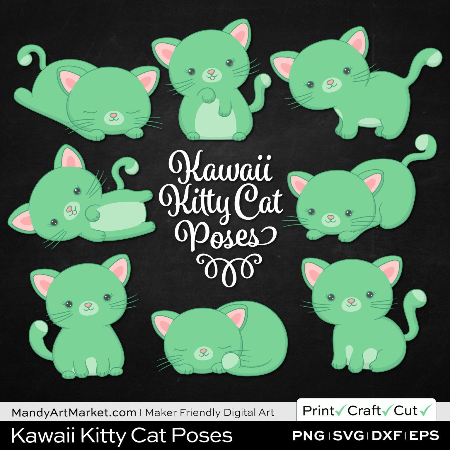 Light Fern Green Kawaii Kitty Cat Poses Clipart on Black Background