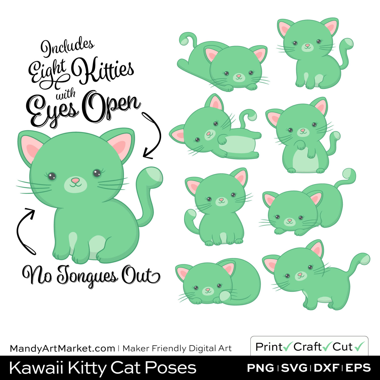 Light Fern Green Kawaii Kitty Cat Poses Clipart on Wood Background