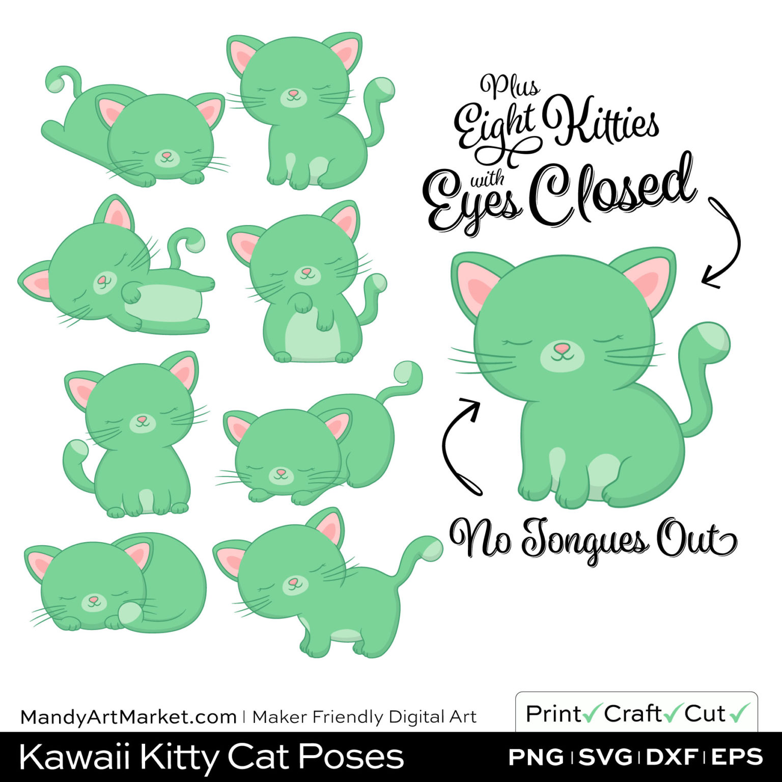 Light Fern Green Kawaii Kitty Cat Poses Clipart PNGs Included in Download