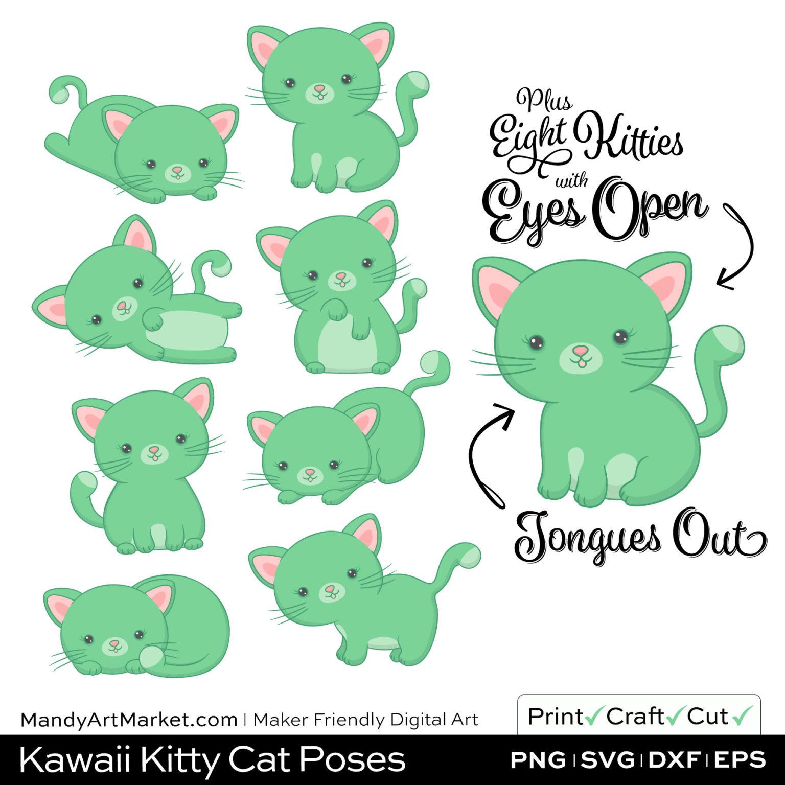 Light Fern Green Kawaii Kitty Cat Poses Clipart Examples