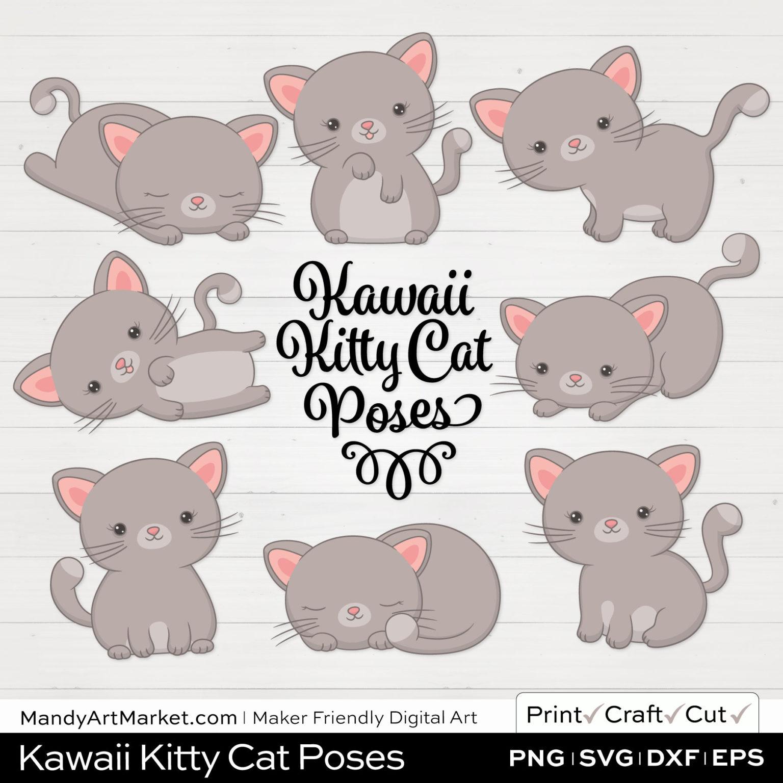 Light Fog Gray Kawaii Kitty Cat Poses Clipart on White Background