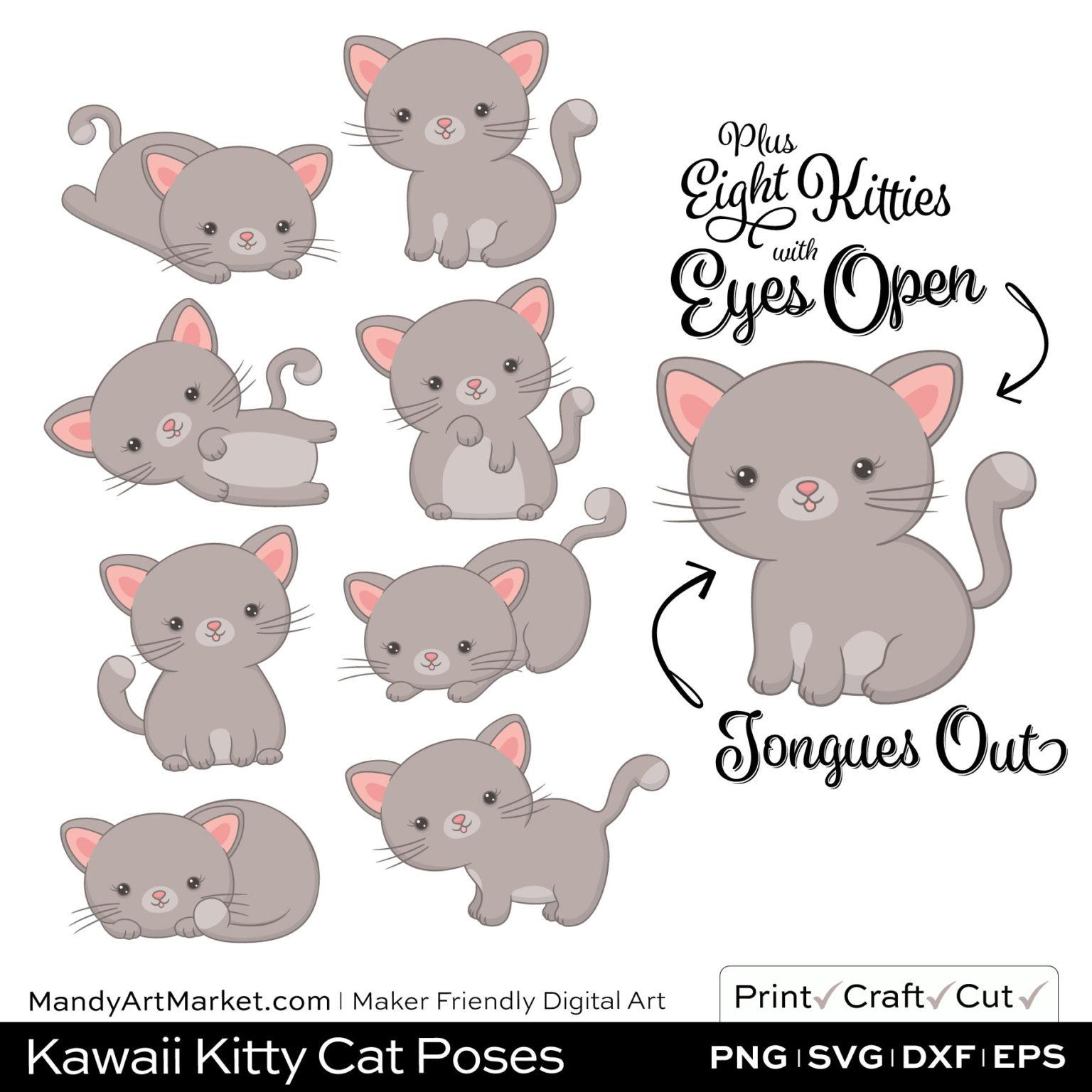 Light Fog Gray Kawaii Kitty Cat Poses Clipart Examples
