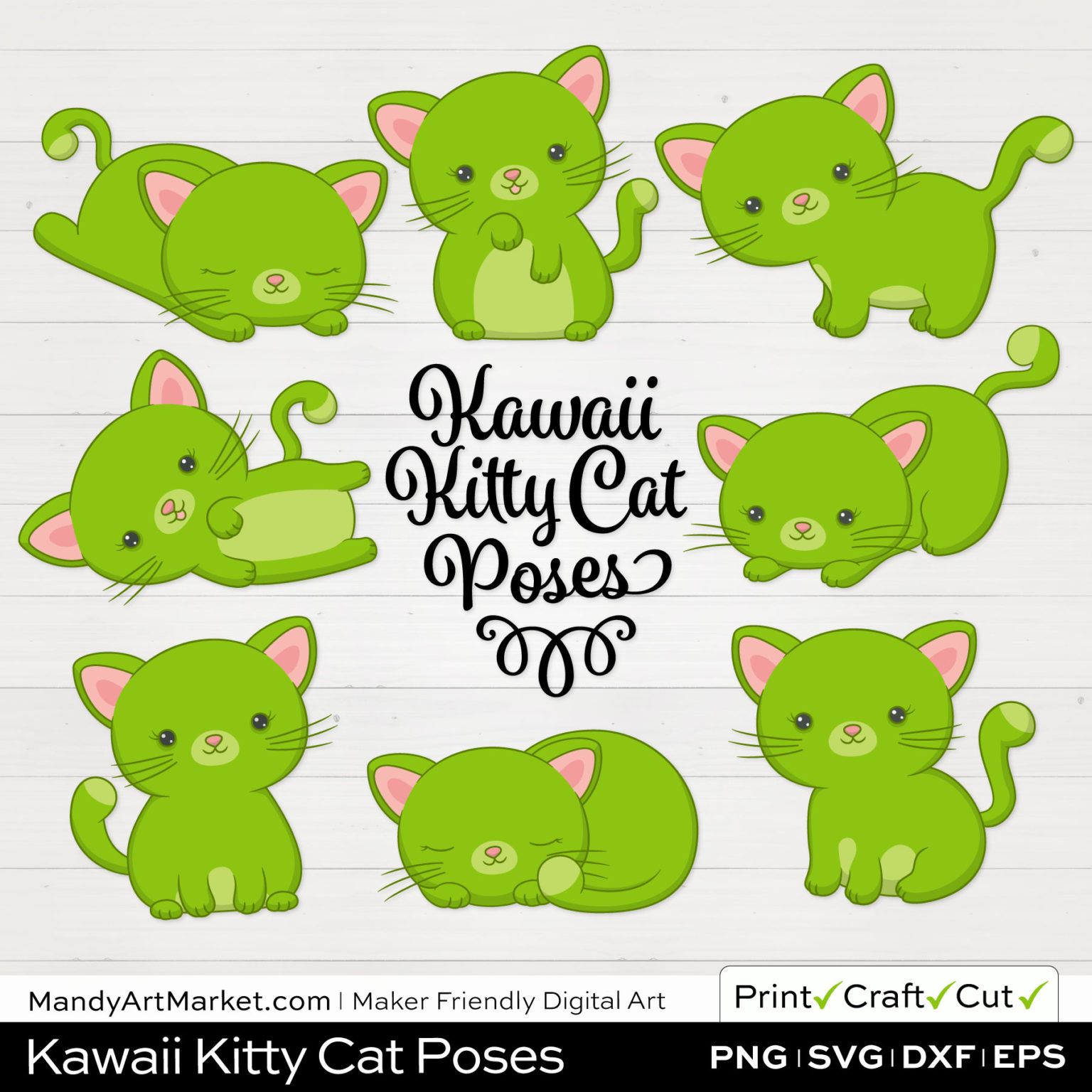 Lime Green Kawaii Kitty Cat Poses Clipart on White Background