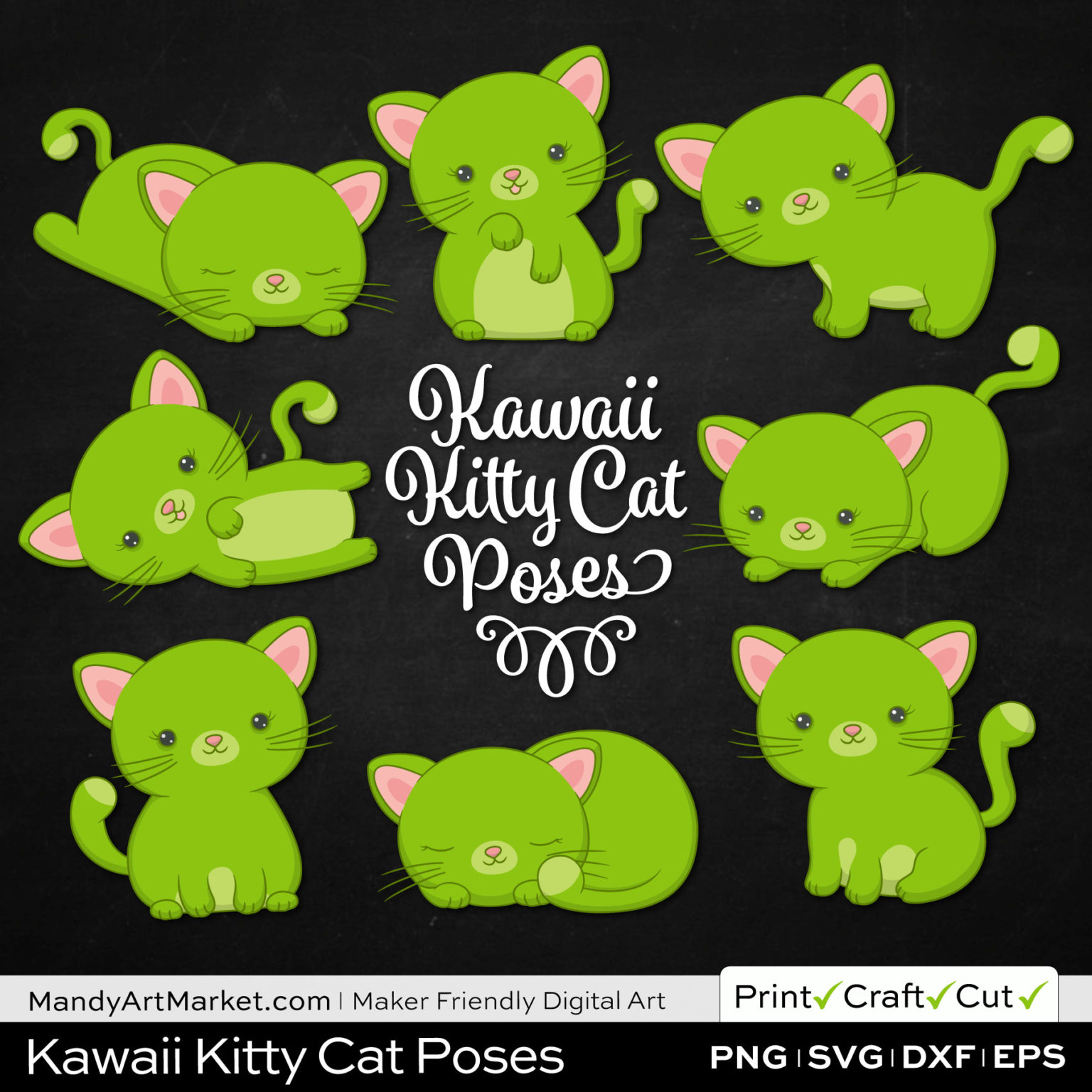Lime Green Kawaii Kitty Cat Poses Clipart on Black Background