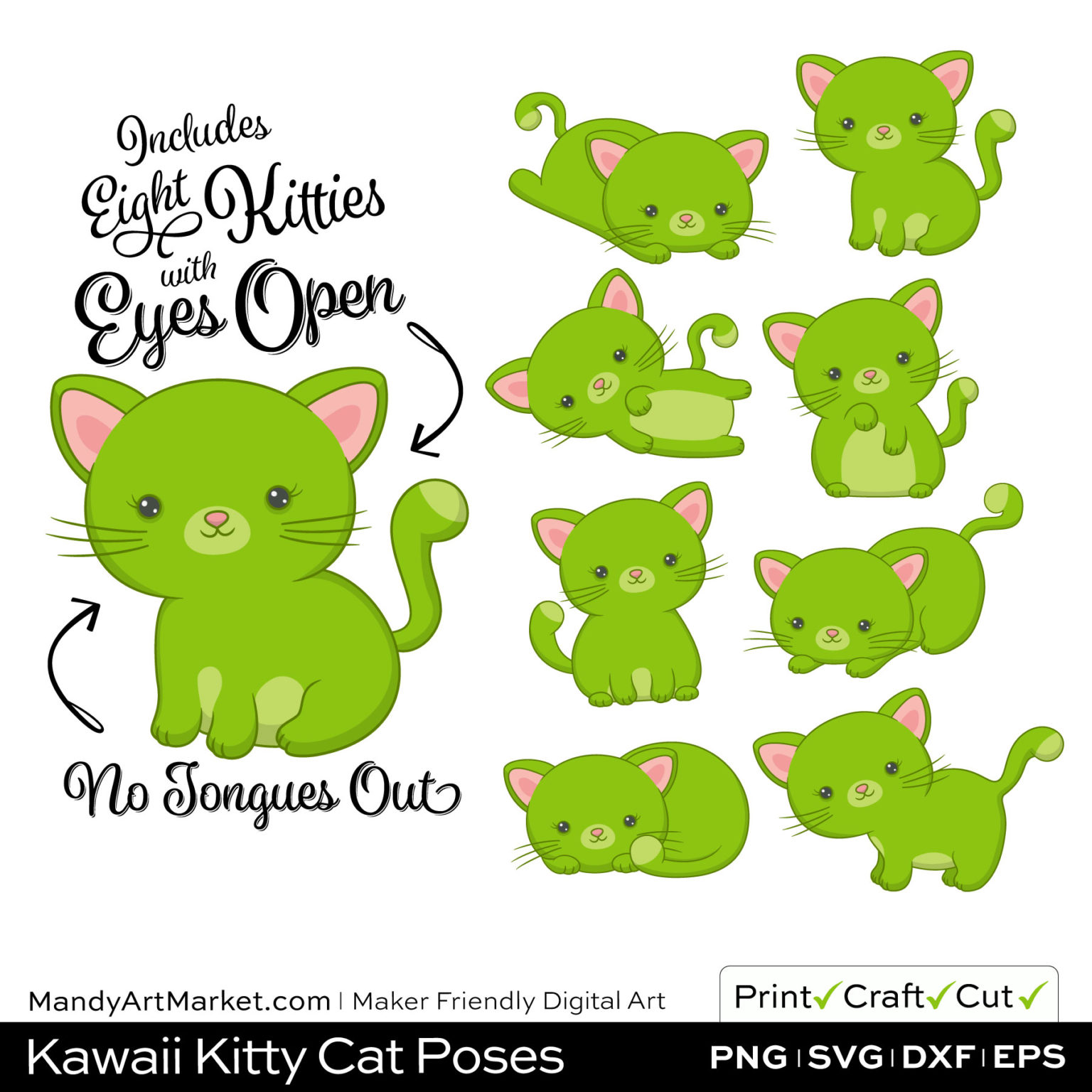 Lime Green Kawaii Kitty Cat Poses Clipart on Wood Background