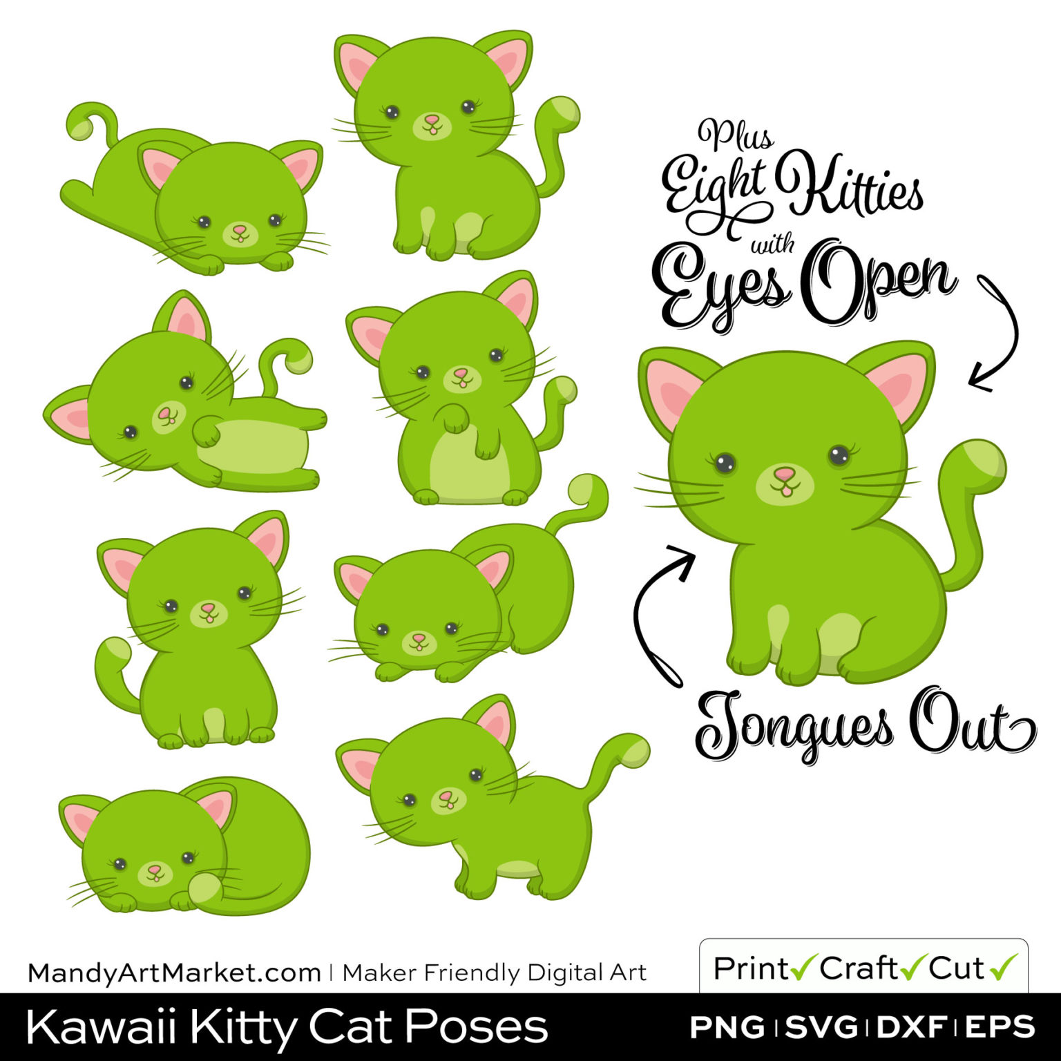 Lime Green Kawaii Kitty Cat Poses Clipart Examples