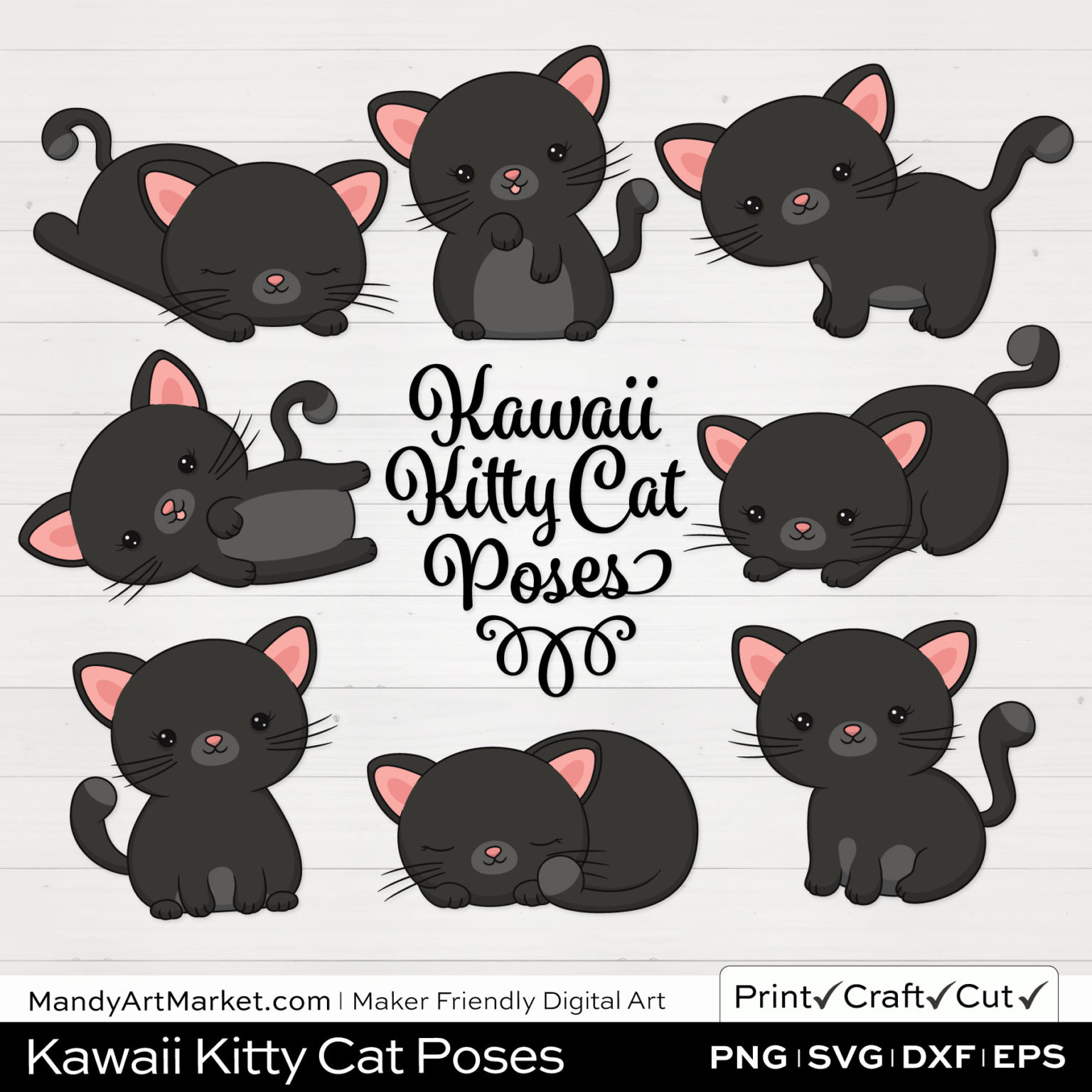 Midnight Gray Kawaii Kitty Cat Poses Clipart on White Background