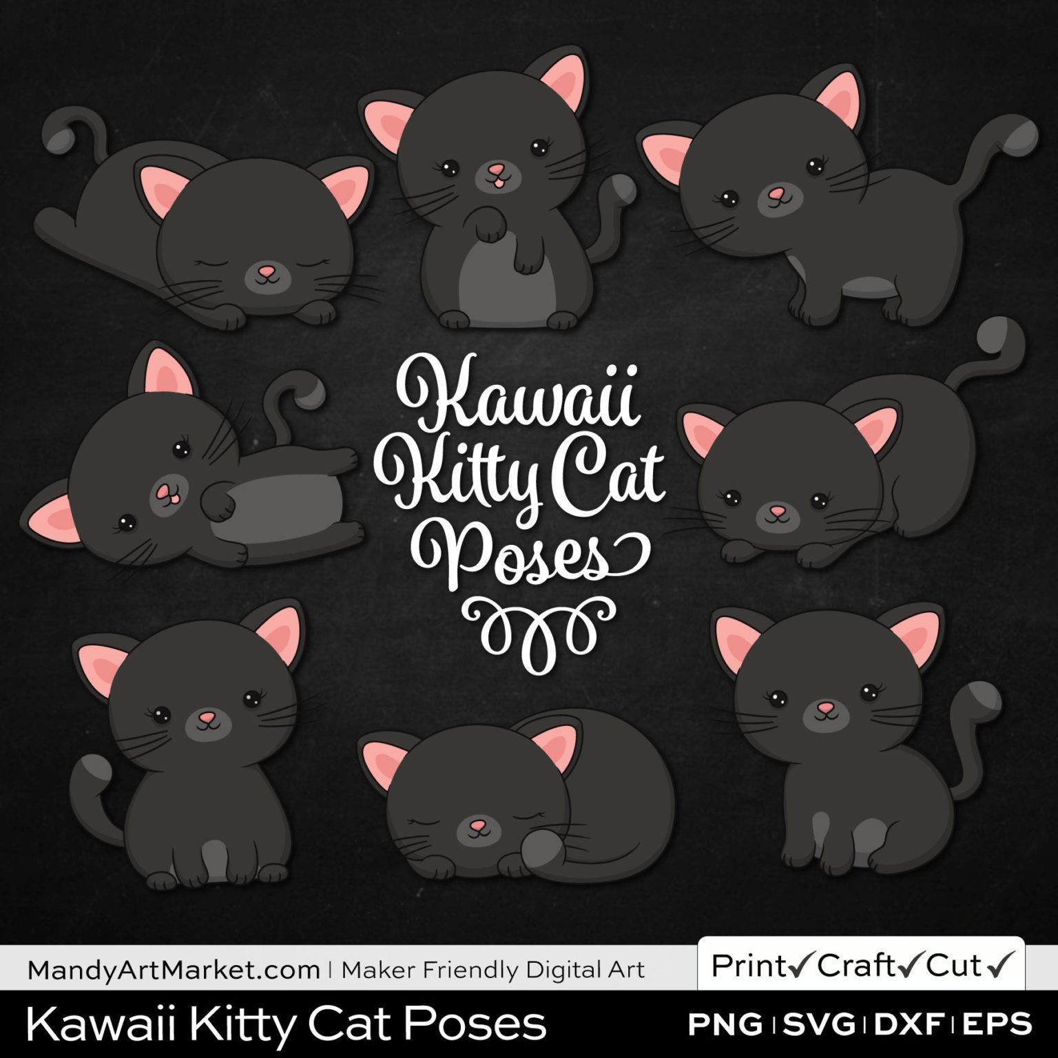 Midnight Gray Kawaii Kitty Cat Poses Clipart on Black Background