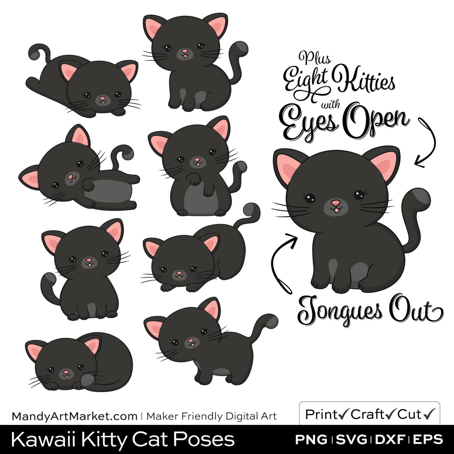 Midnight Gray Kawaii Kitty Cat Poses Clipart Examples