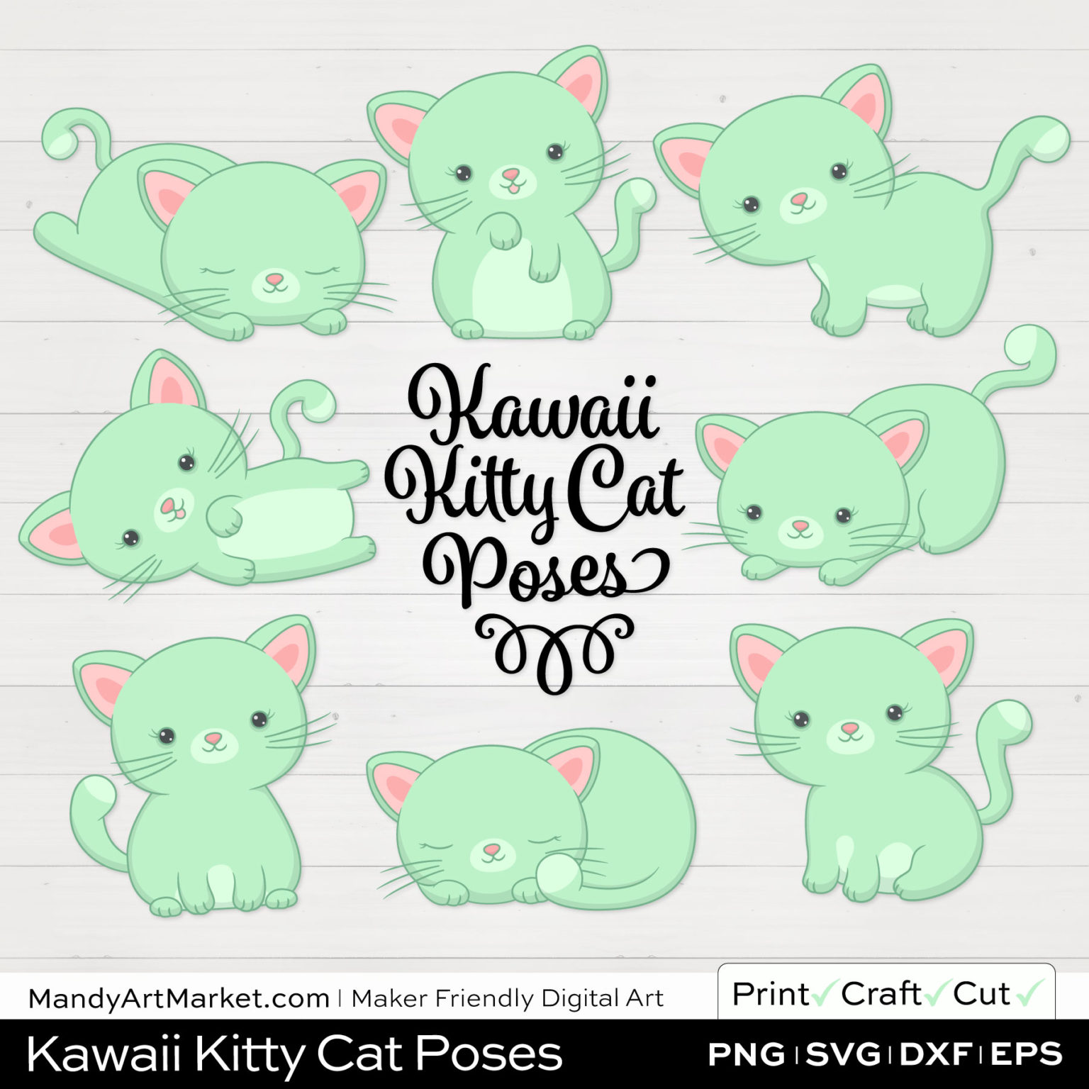 Mint Green Kawaii Kitty Cat Poses Clipart on White Background