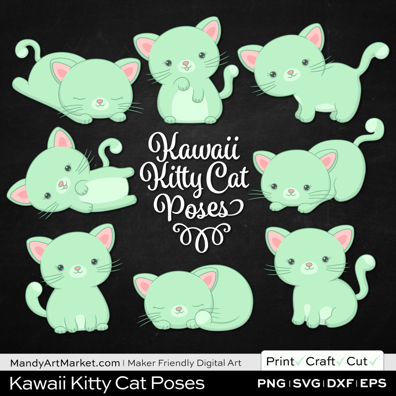 Mint Green Kawaii Kitty Cat Poses Clipart on Black Background
