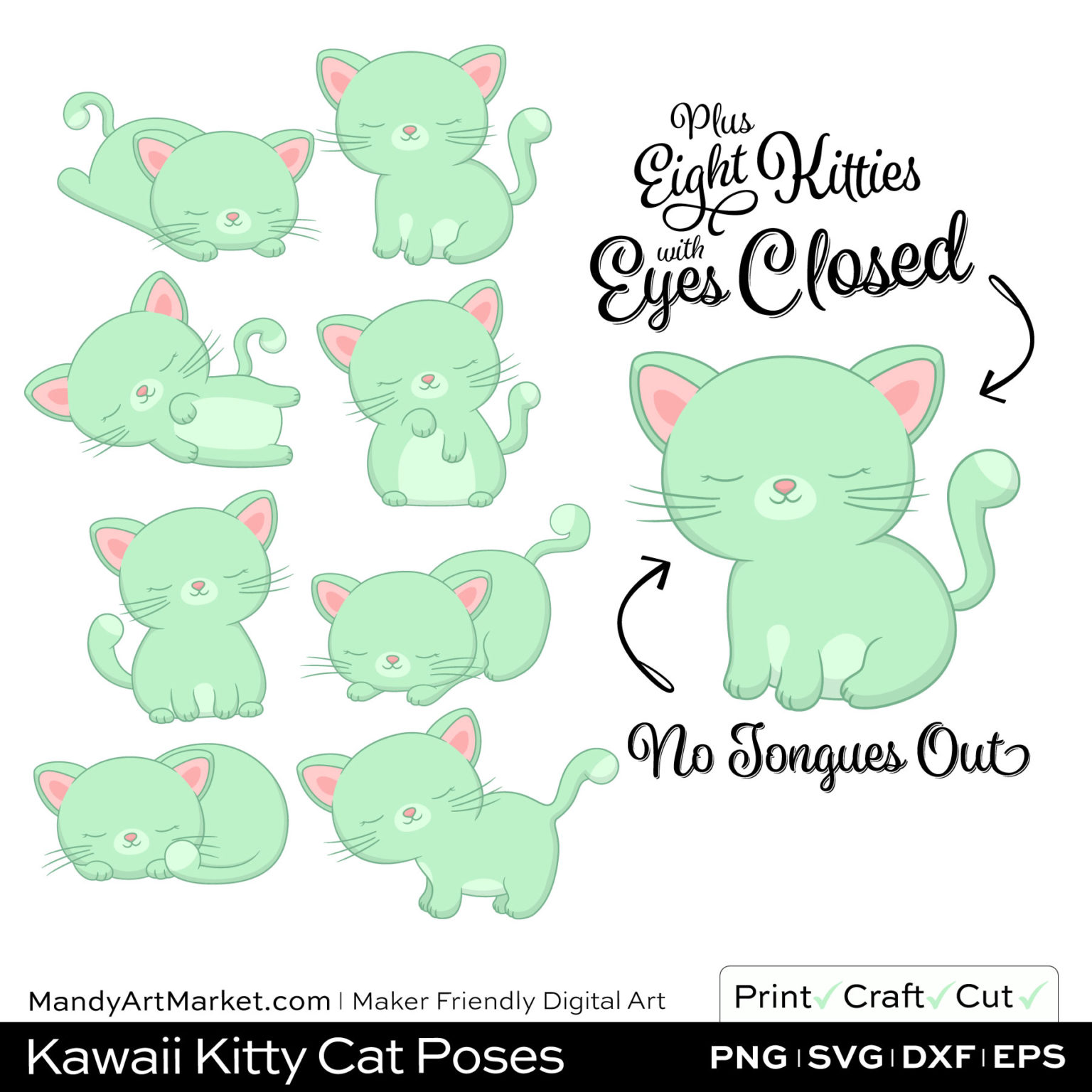 Mint Green Kawaii Kitty Cat Poses Clipart PNGs Included in Download