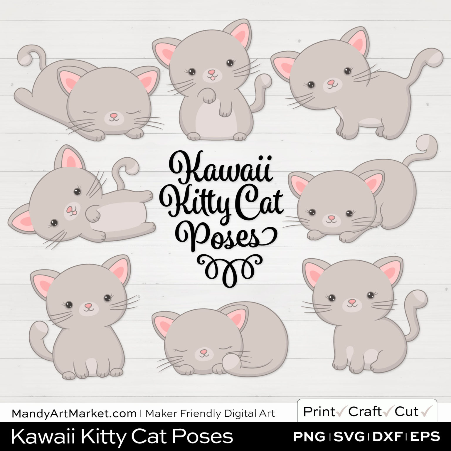 Oatmeal Gray Kawaii Kitty Cat Poses Clipart on White Background