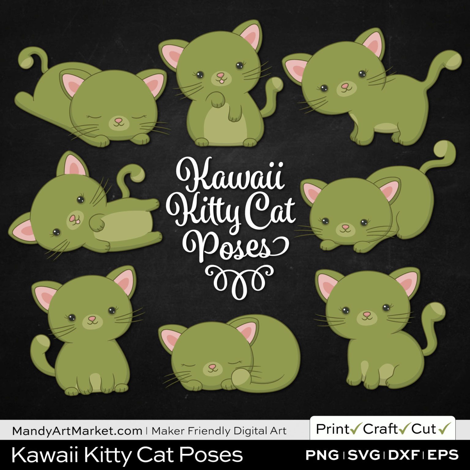 Olive Green Kawaii Kitty Cat Poses Clipart on Black Background