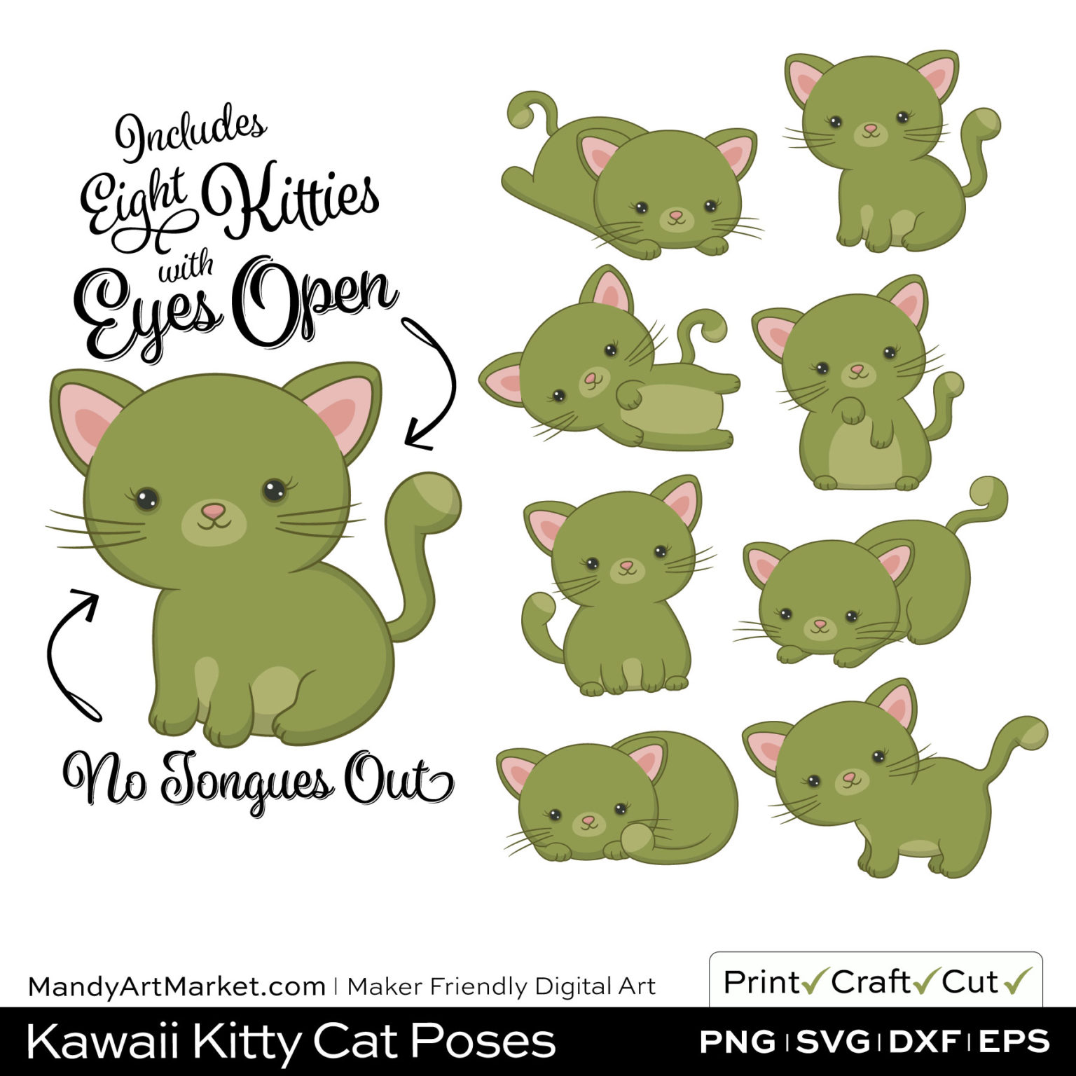 Olive Green Kawaii Kitty Cat Poses Clipart on Wood Background