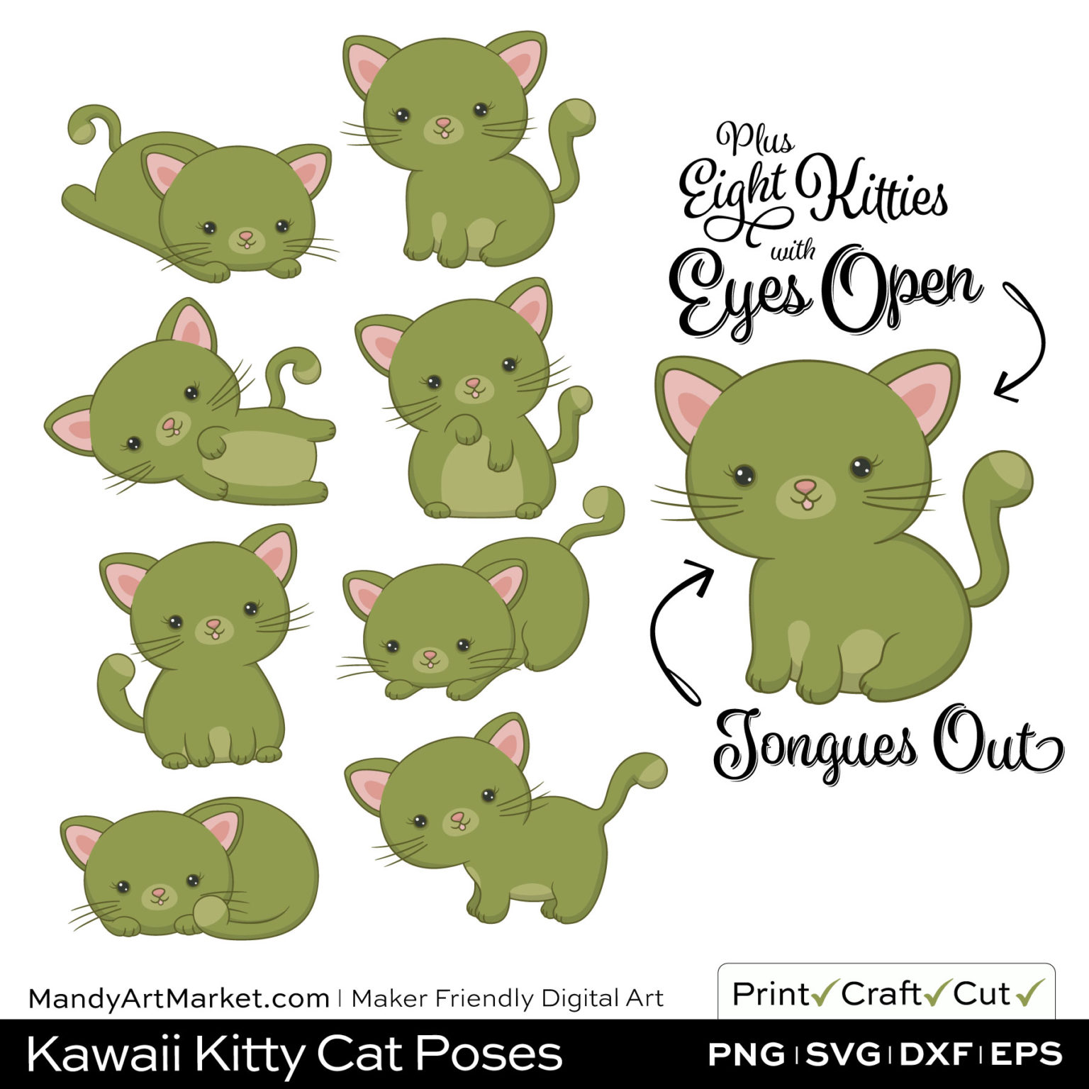 Olive Green Kawaii Kitty Cat Poses Clipart Examples