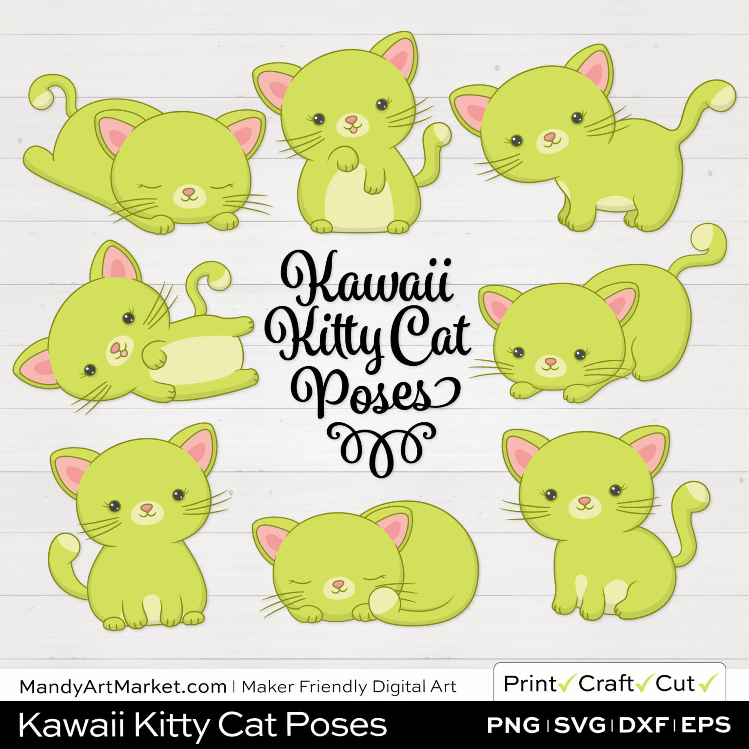 Pear Green Kawaii Kitty Cat Poses Clipart on White Background