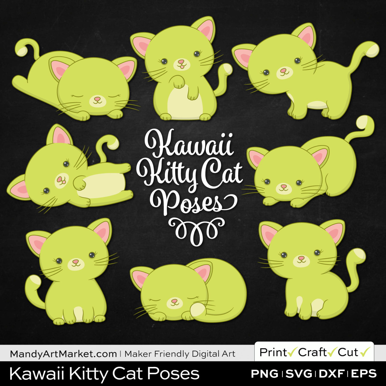 Pear Green Kawaii Kitty Cat Poses Clipart on Black Background