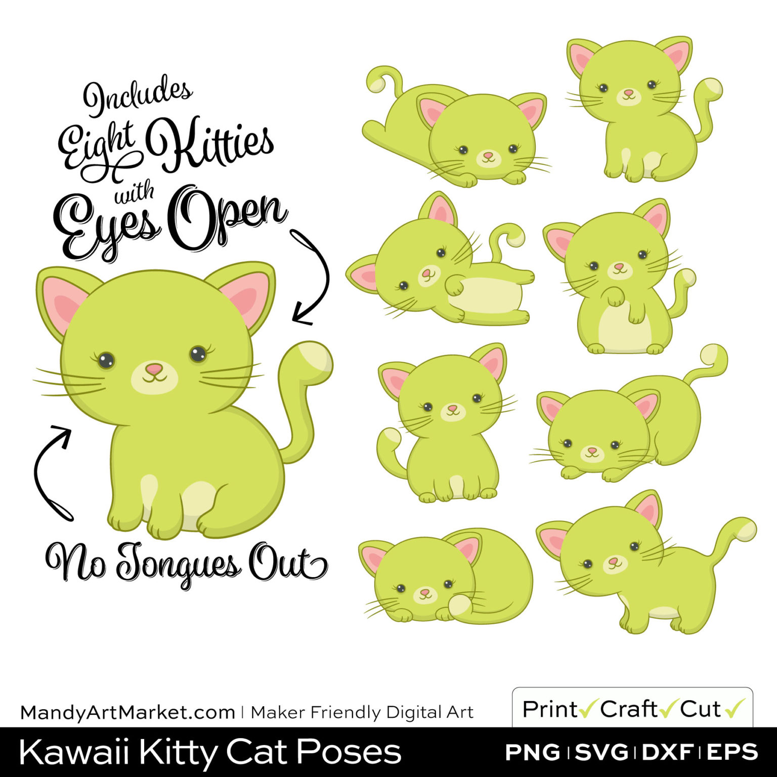 Pear Green Kawaii Kitty Cat Poses Clipart on Wood Background