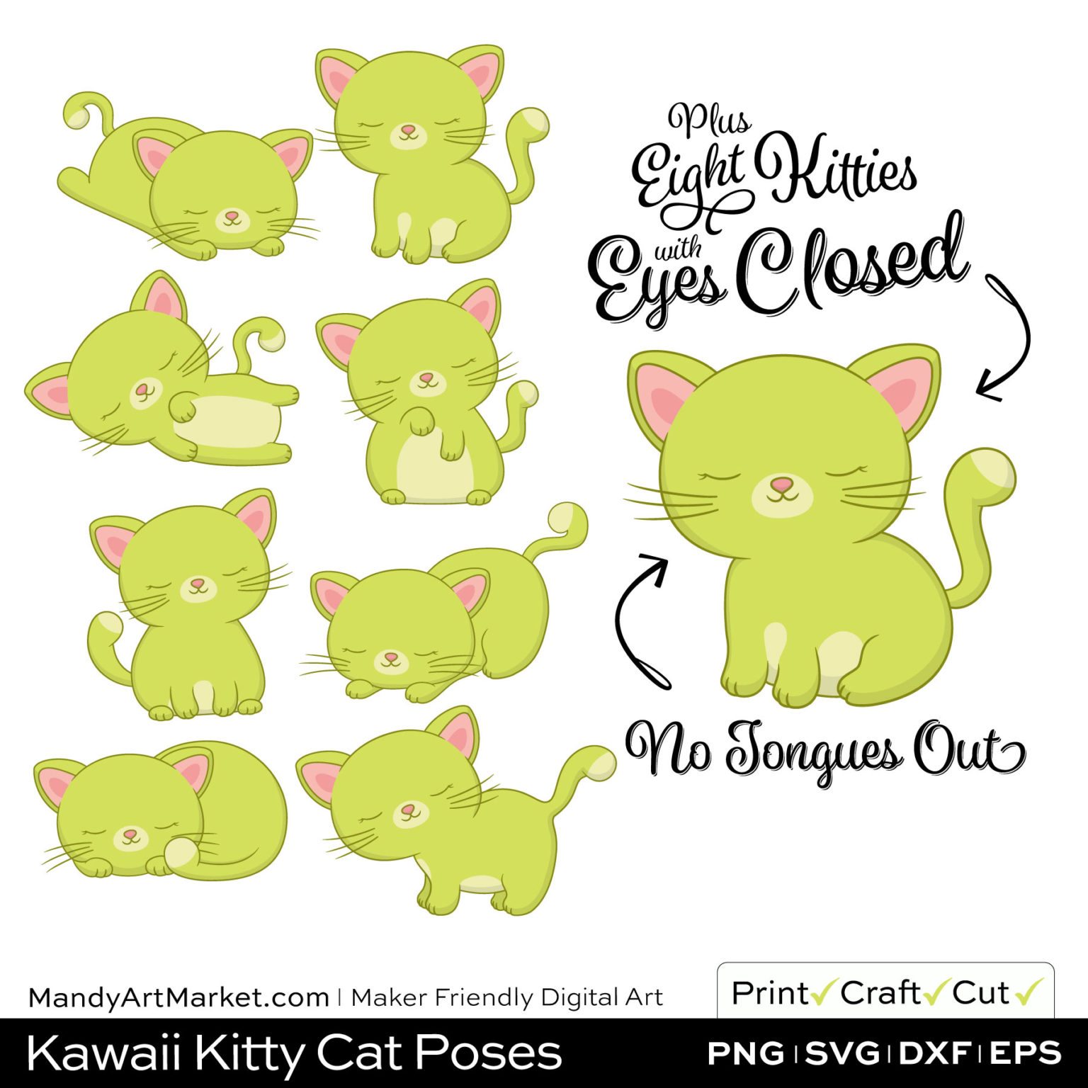 Pear Green Kawaii Kitty Cat Poses Clipart PNGs Included in Download
