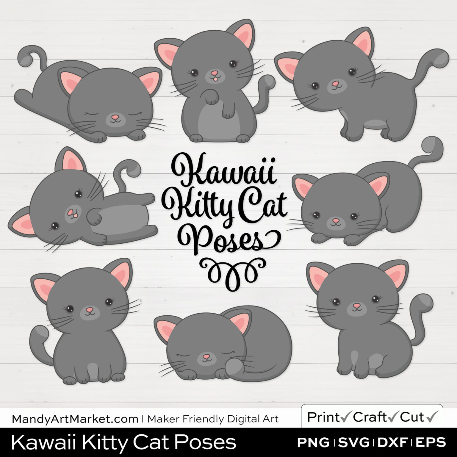 Pebble Gray Kawaii Kitty Cat Poses Clipart on White Background