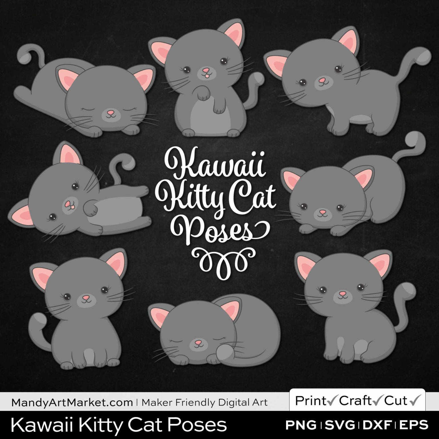 Pebble Gray Kawaii Kitty Cat Poses Clipart on Black Background
