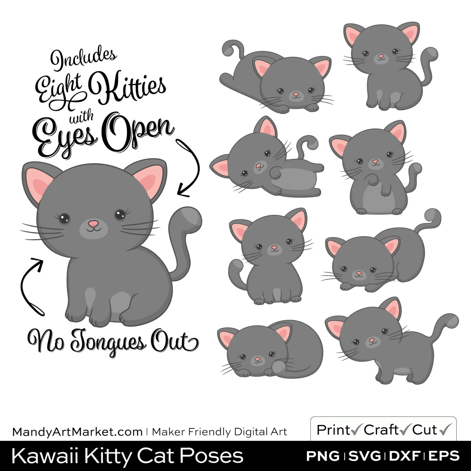Pebble Gray Kawaii Kitty Cat Poses Clipart on Wood Background
