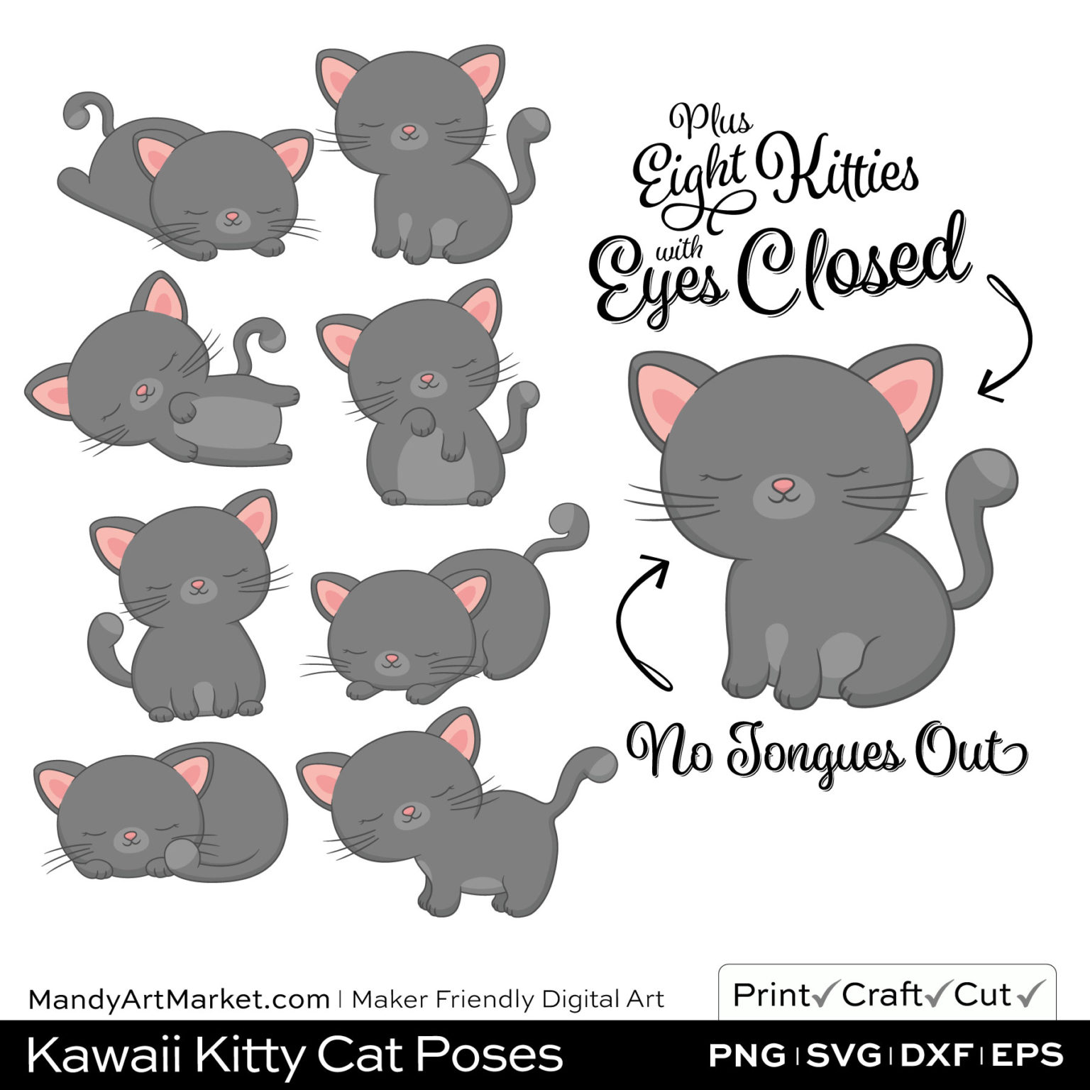 Pebble Gray Kawaii Kitty Cat Poses Clipart PNGs Included in Download