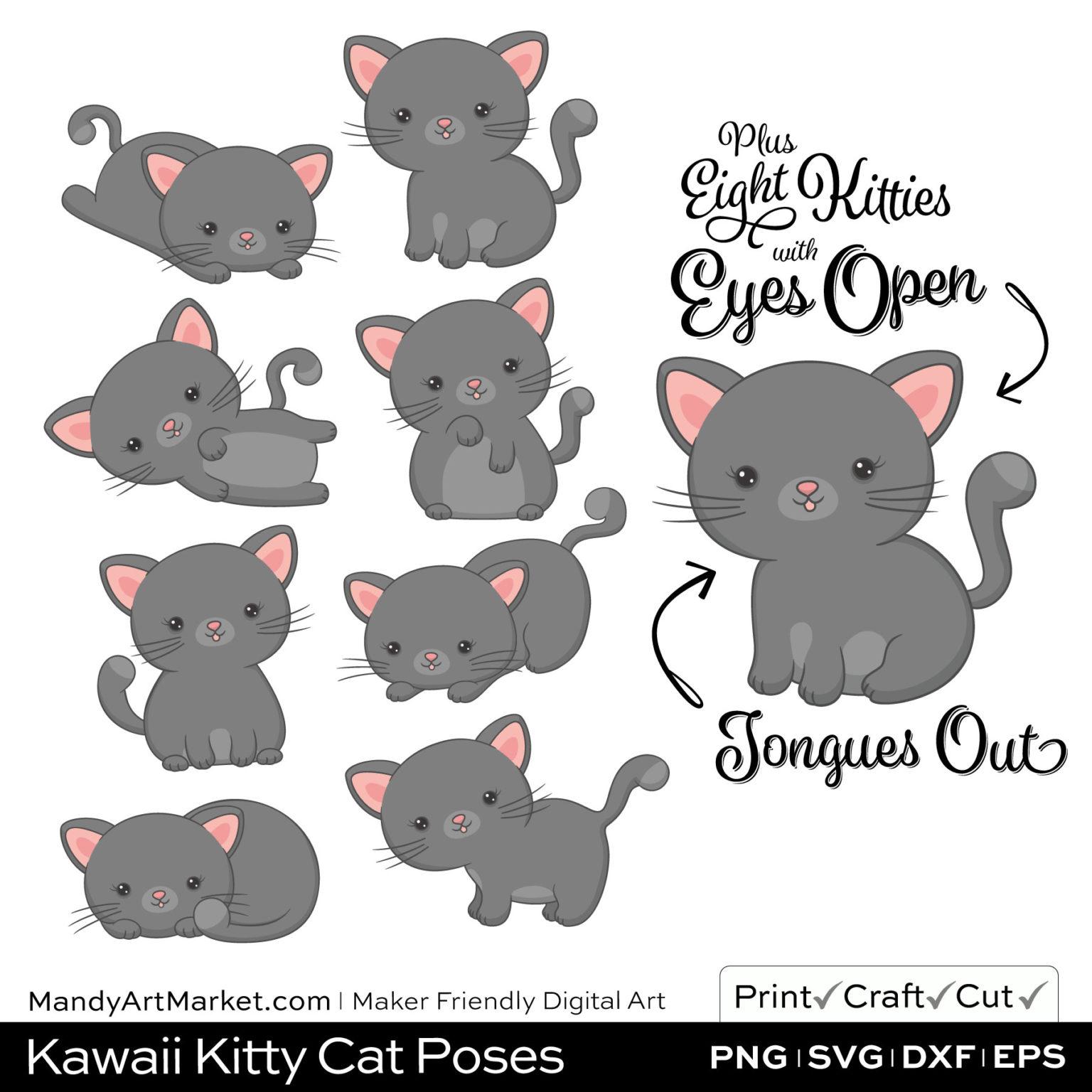 Pebble Gray Kawaii Kitty Cat Poses Clipart Examples