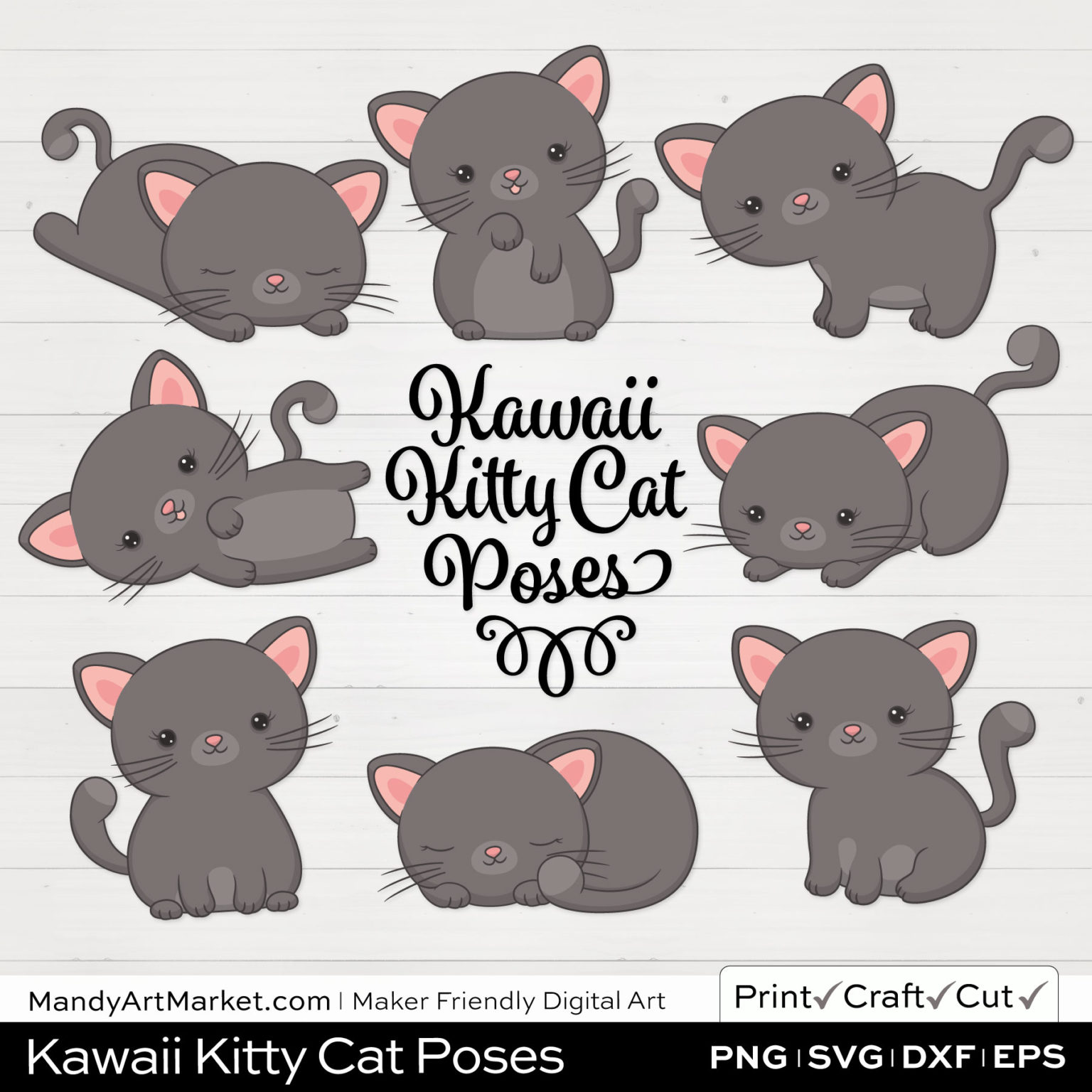 Pewter Gray Kawaii Kitty Cat Poses Clipart on White Background